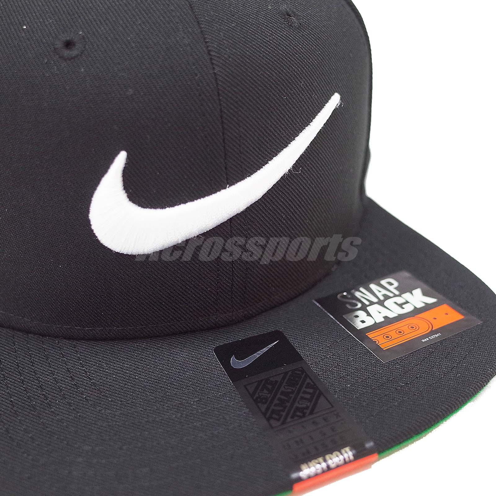 e712dd2ebd2 Nike Swoosh Pro Black White Embroidery Mens Snapback Adjustable Hat ...
