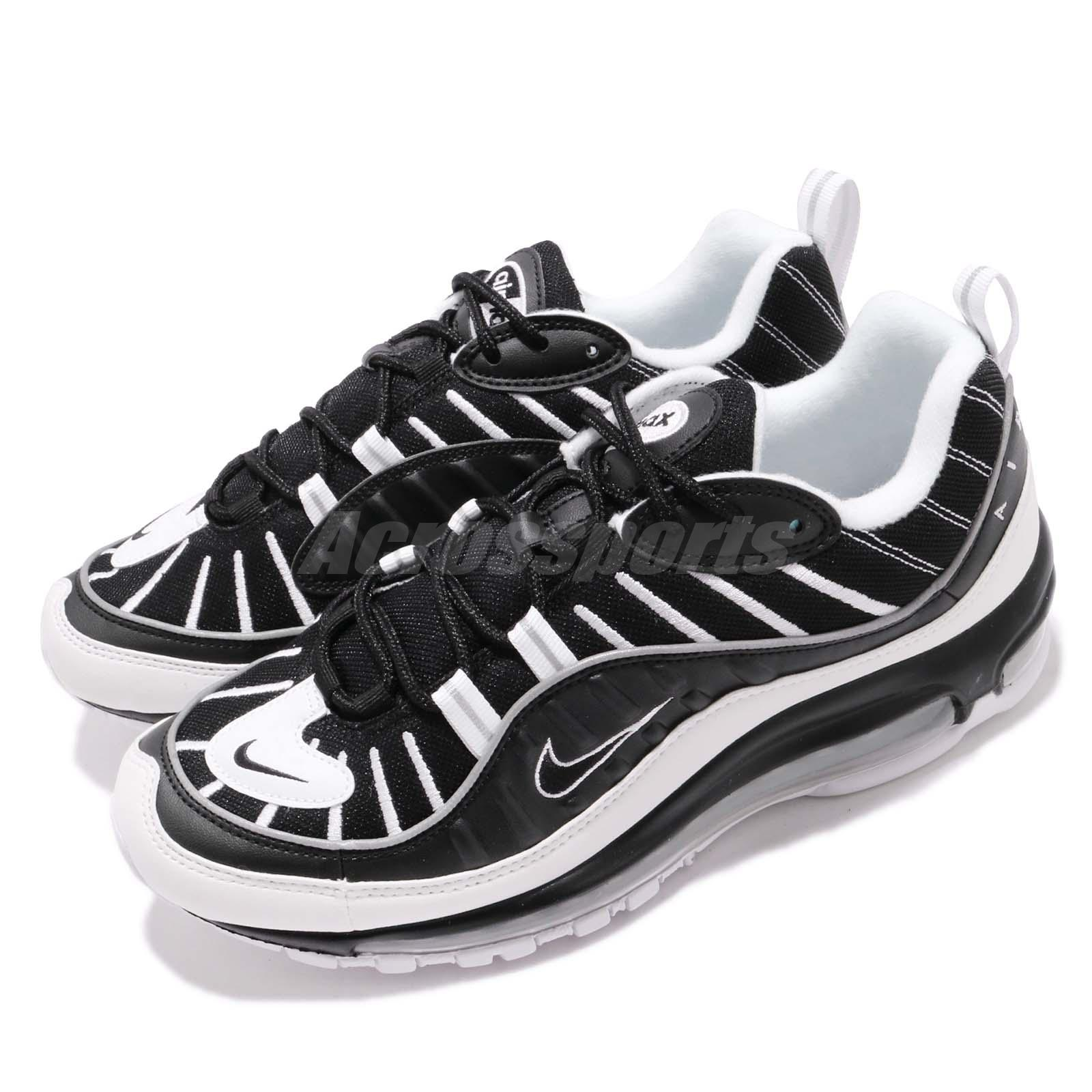 brand new 4942d fbbe1 Details about Nike Air Max 98 Black White Silver Mens Running Shoes  Sneakers 640744-010