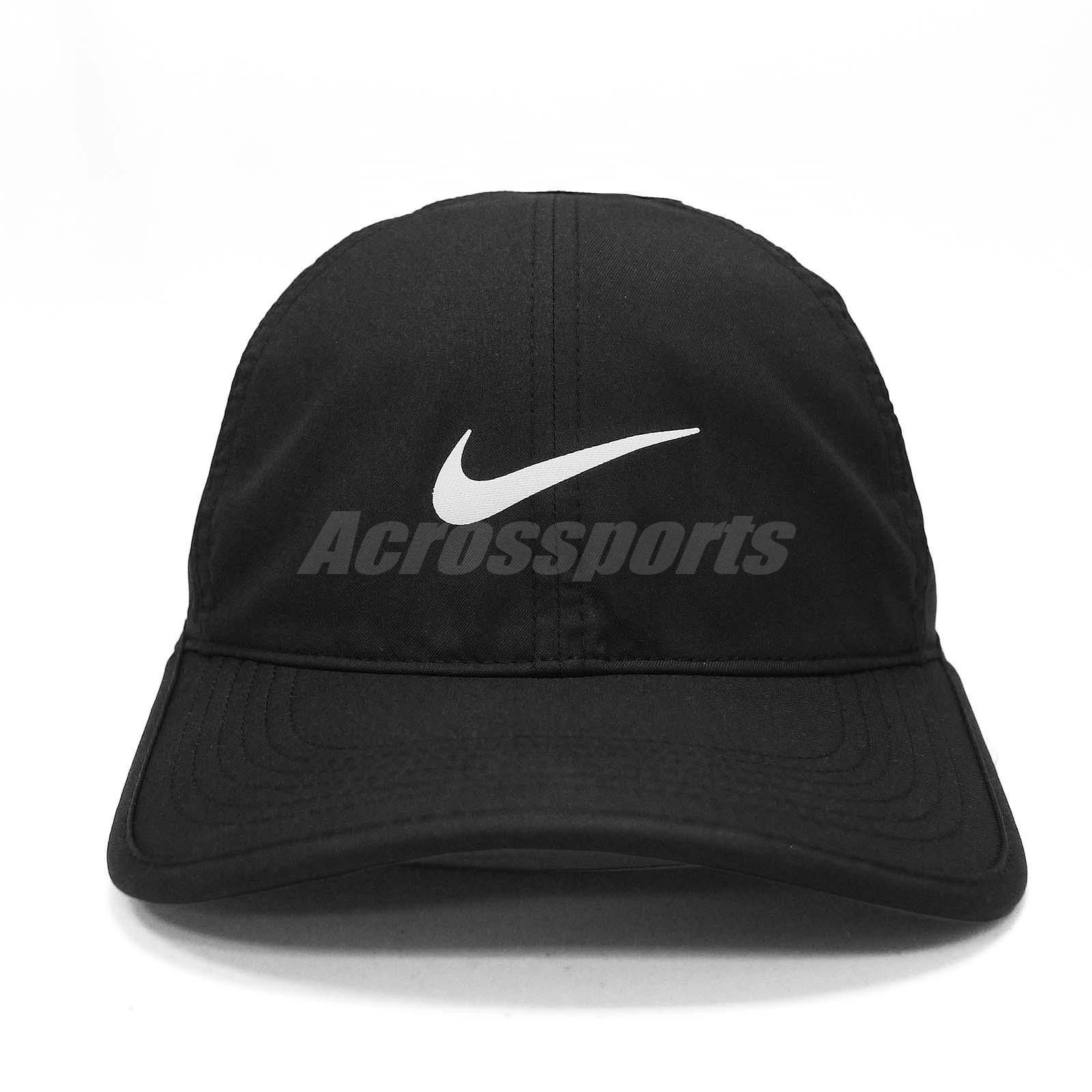 a1c7e07b08 Nike Aerobill Featherlight Dri-FIT Black White Unisex Tennis Cap Hat ...