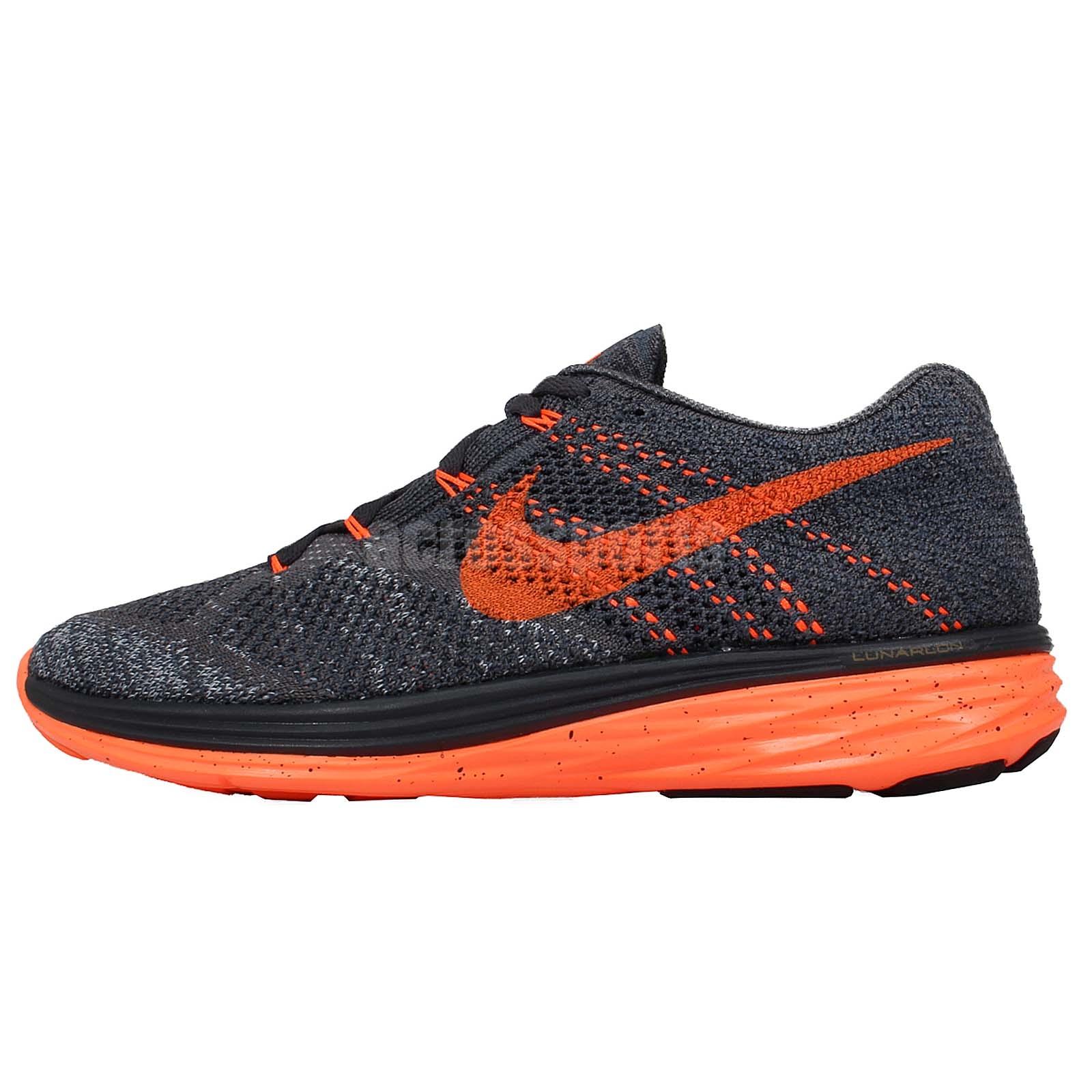 Nike Flyknit Lunar3 Grey Orange 2015 Mens Racing Running ...