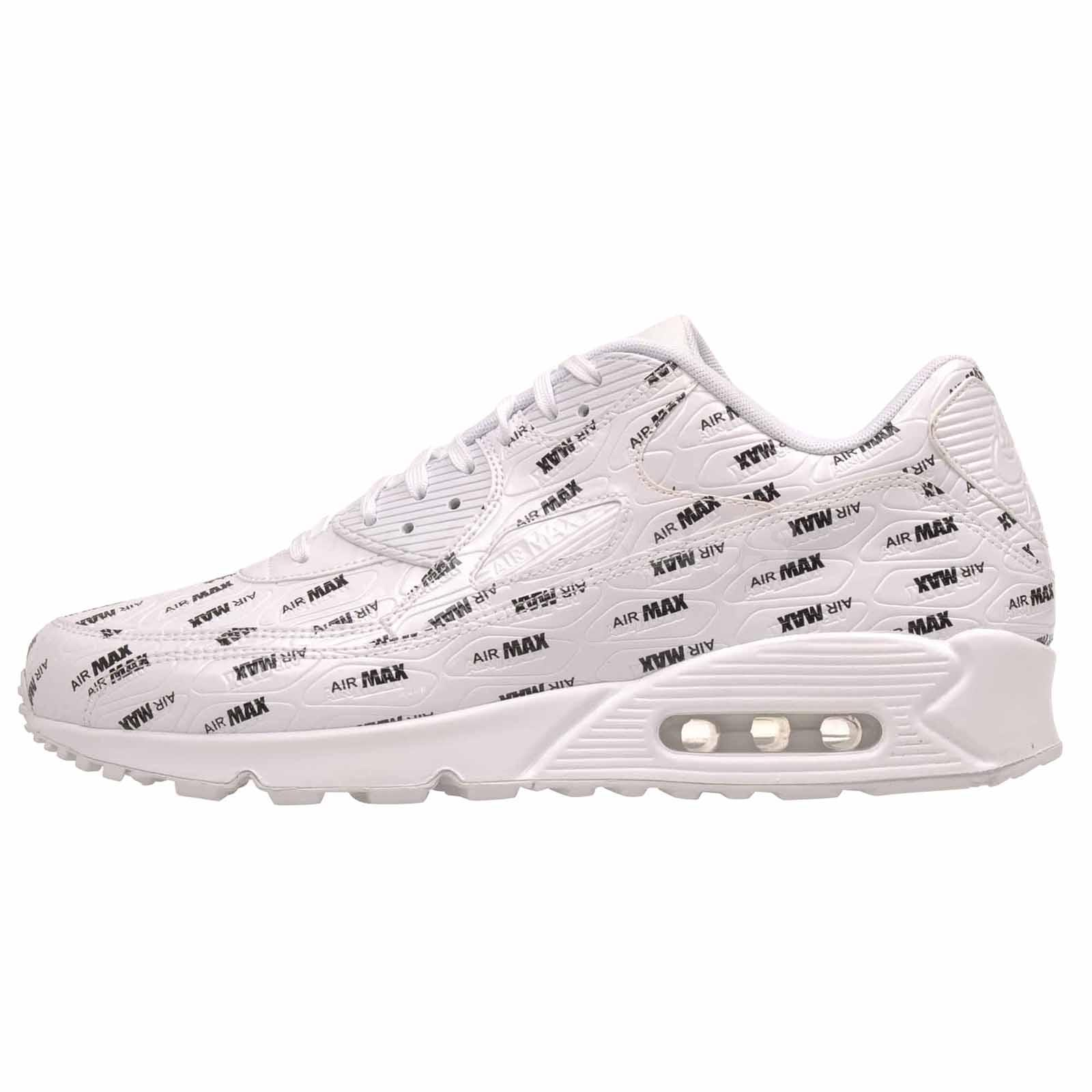 low cost 10e42 0ba4e Details about Nike Air Max 90 Premium All Over Print Running Mens Shoes  White Black 700155-103
