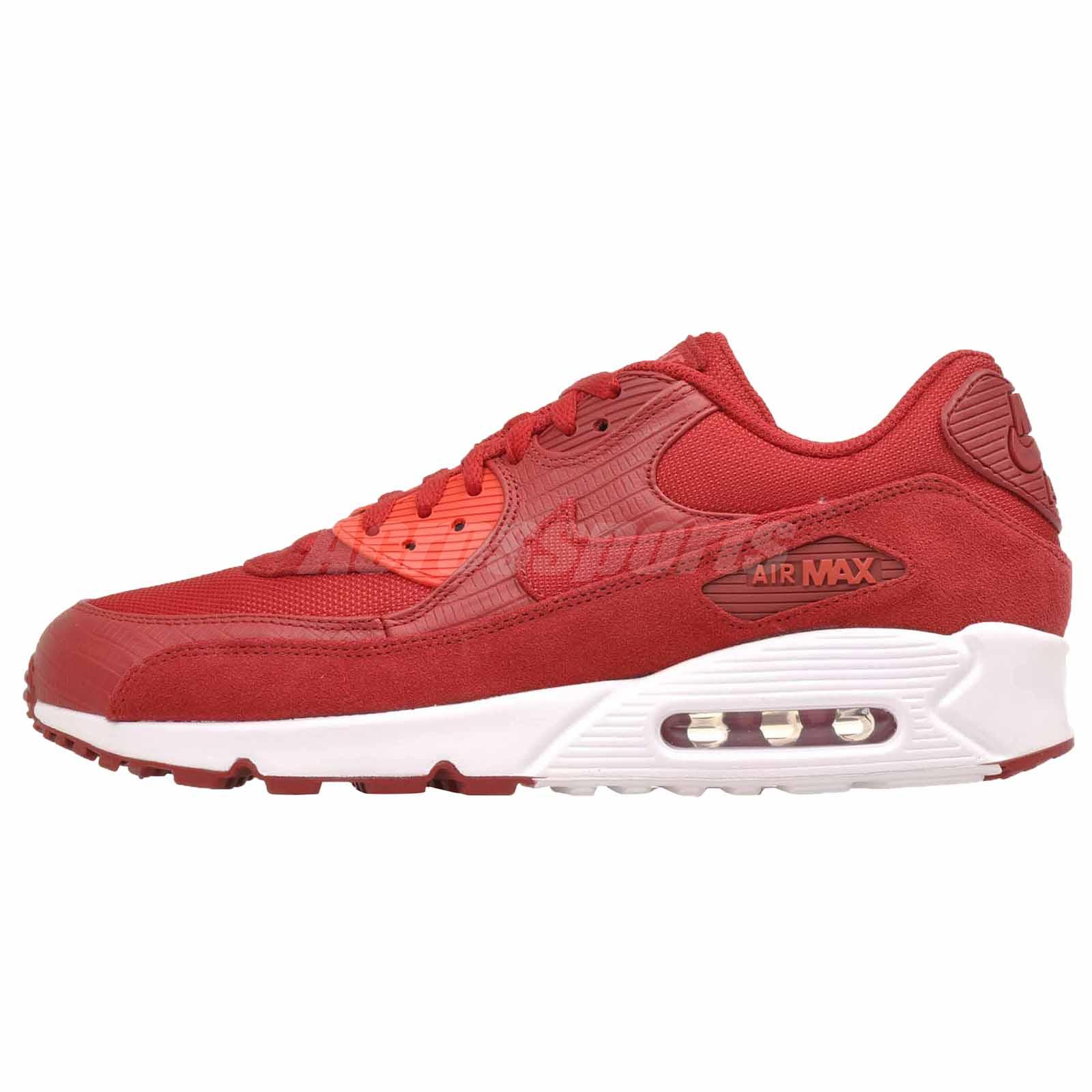 hot sale online 981e1 ce982 Nike Air Max 90 Premium Running Mens Shoes Gym Red 700155-602