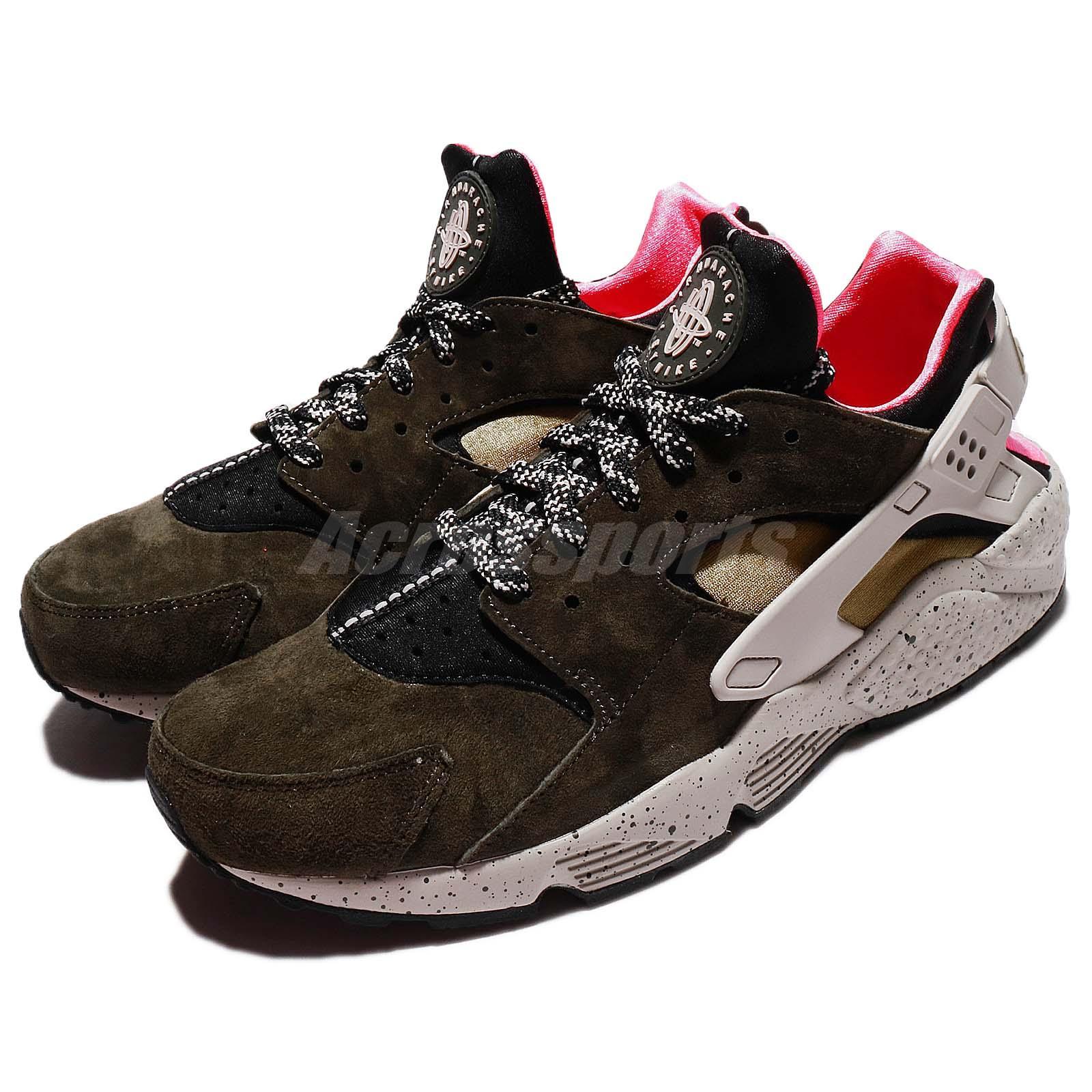 Nike Air Huarache Run PRM Green Desert Moss Solar Red Men Casual Shoe 704830010