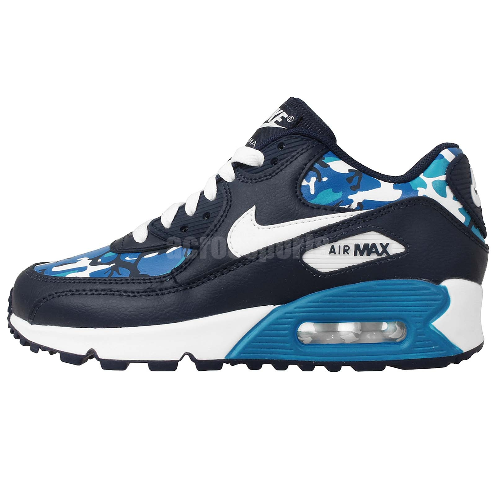 nike air max 90 print gs navy blue camo white youth womens. Black Bedroom Furniture Sets. Home Design Ideas