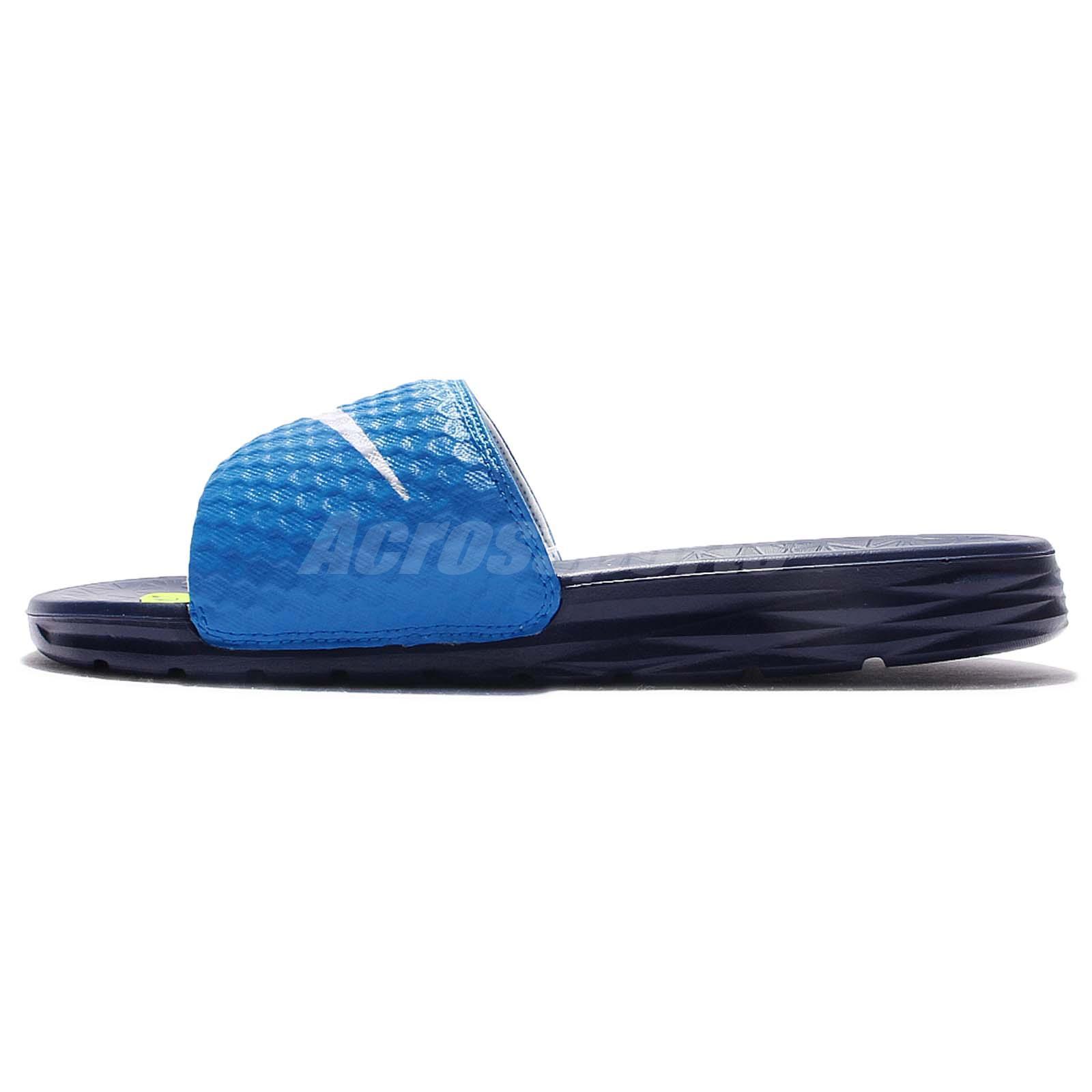 4b9a4e98ca2242 Nike Benassi Solarsoft Blue White Men Sandal Slide Slippers 705474 ...