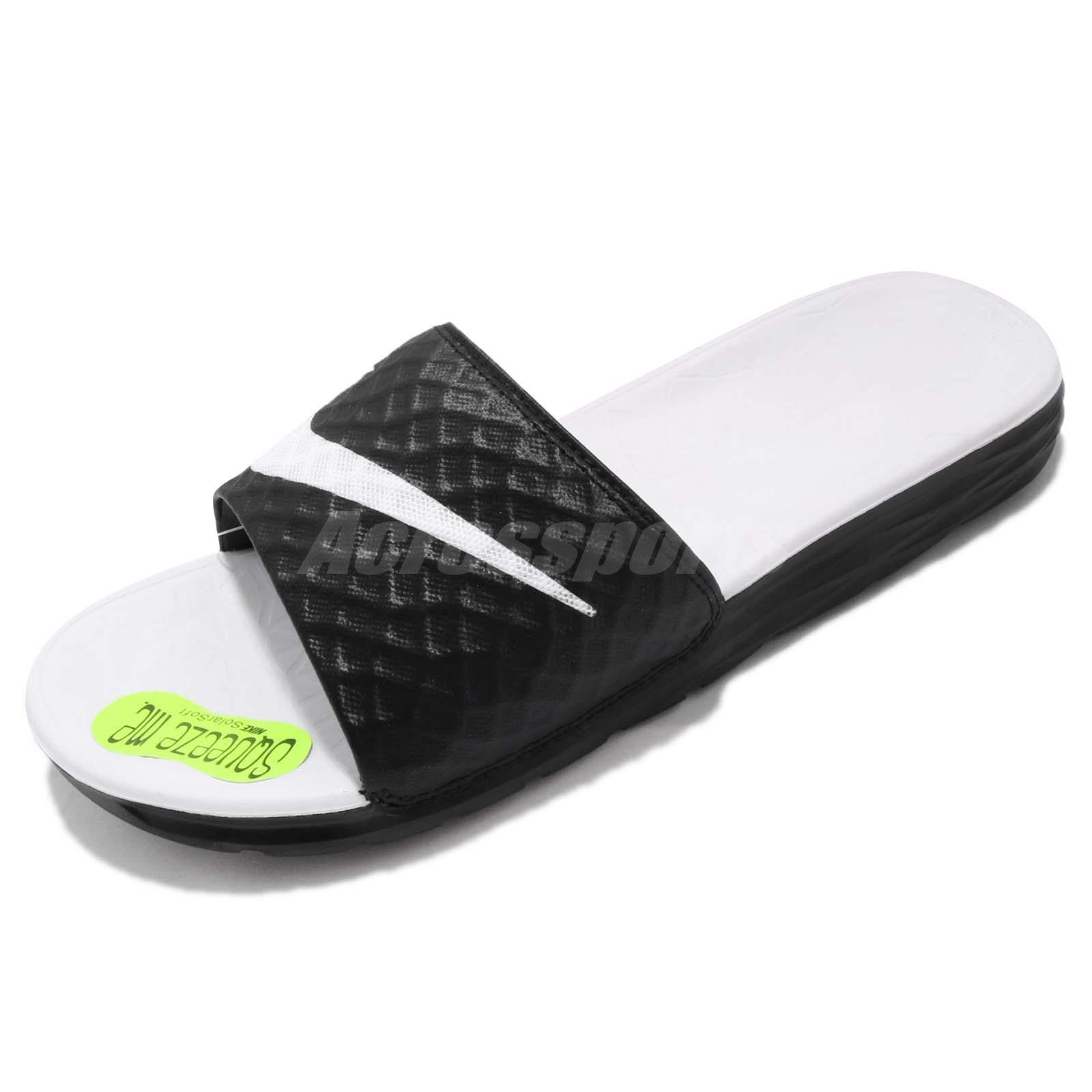new arrival a19d1 343eb Wmns Nike Benassi Solarsoft White Black Womens Slippers Sandal Slides  705475-010