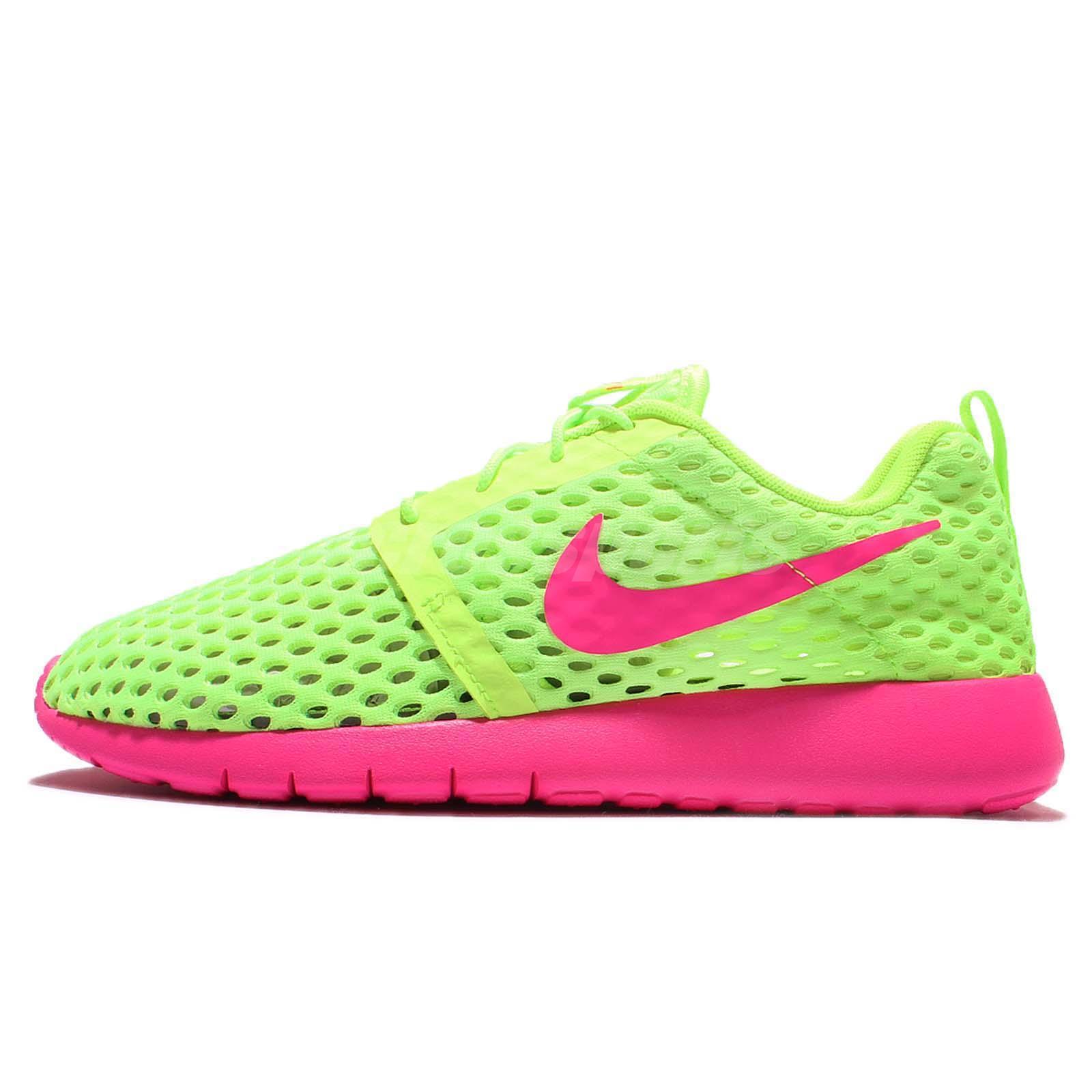 499fe74c4fe5 Nike Roshe One Flight Weight GS Green Pink Kids Running Sneakers 705486-300