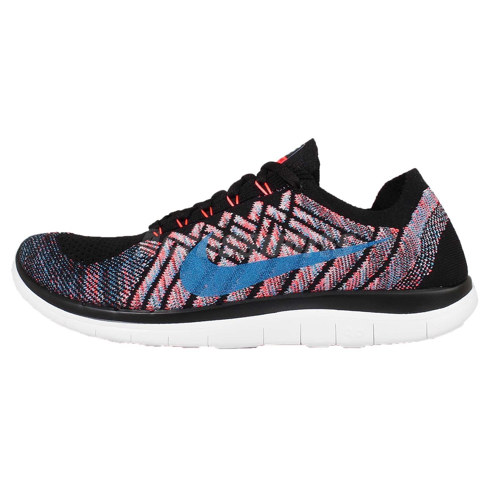 31f027417bdd ... Blue Lagoon Nike Free 4.0 Flyknit Black Hyper Orange Mens Running Shoes  Trainers 717075-009 ...