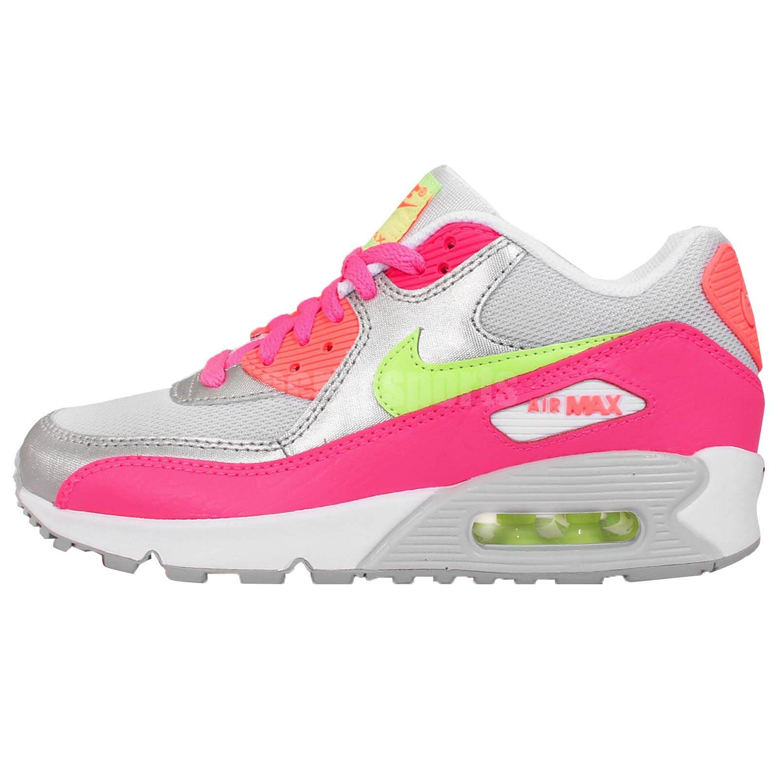 nike air max 90 mesh gs grey silver pink lime girls youth. Black Bedroom Furniture Sets. Home Design Ideas