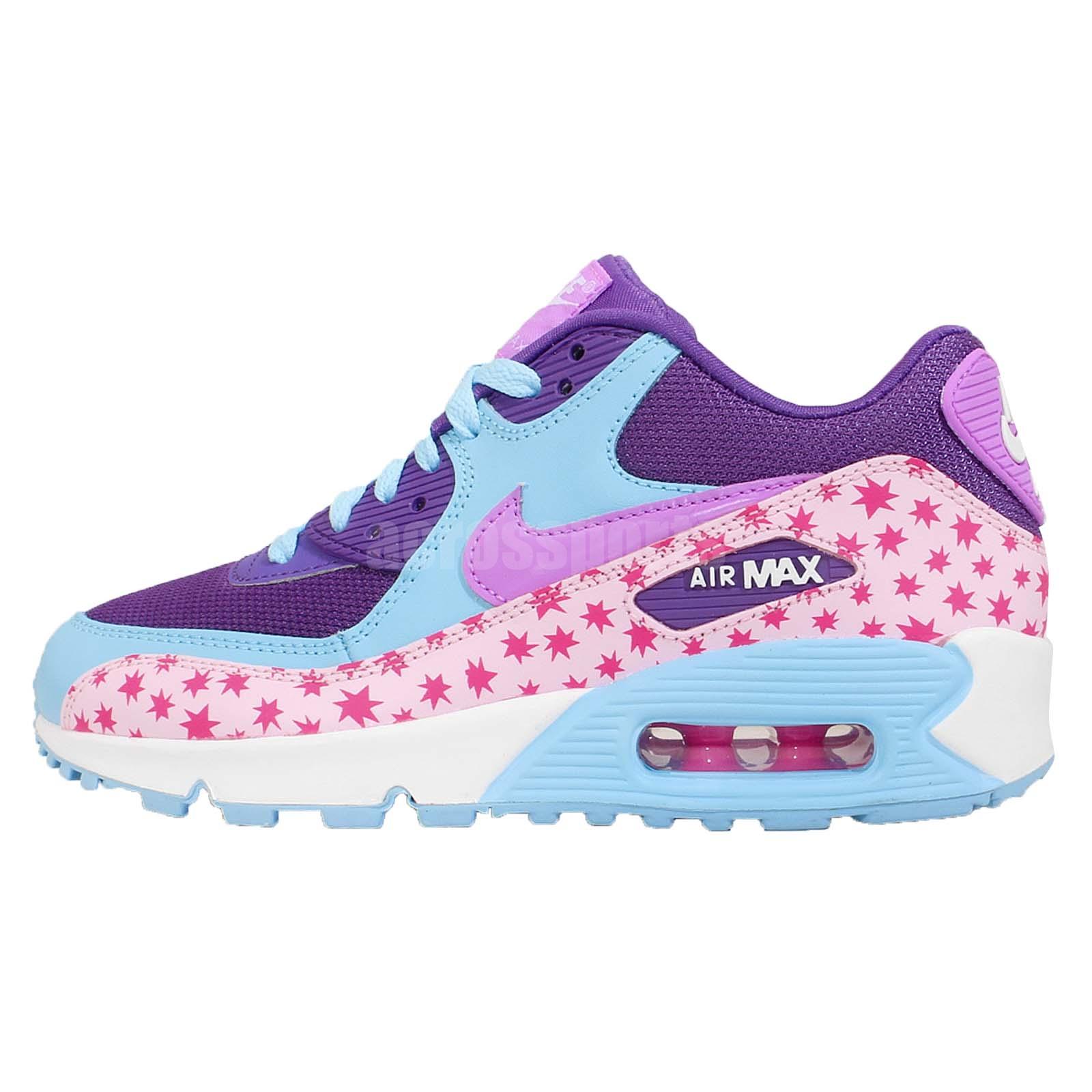 nike air max 90 prem mesh gs star purple pink blue girls. Black Bedroom Furniture Sets. Home Design Ideas