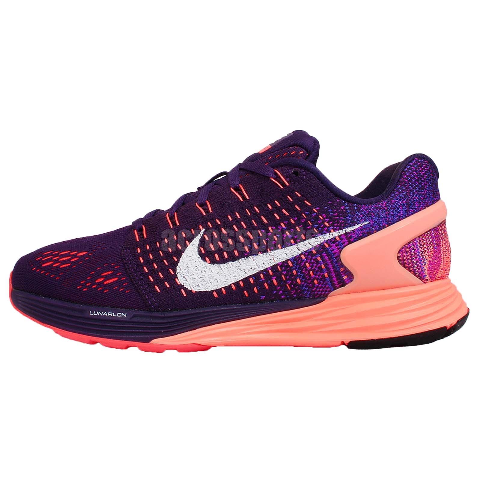0bd28f9919a Wmns Nike Lunarglide 7 VII Flyknit Purple Orange Womens Running Shoes