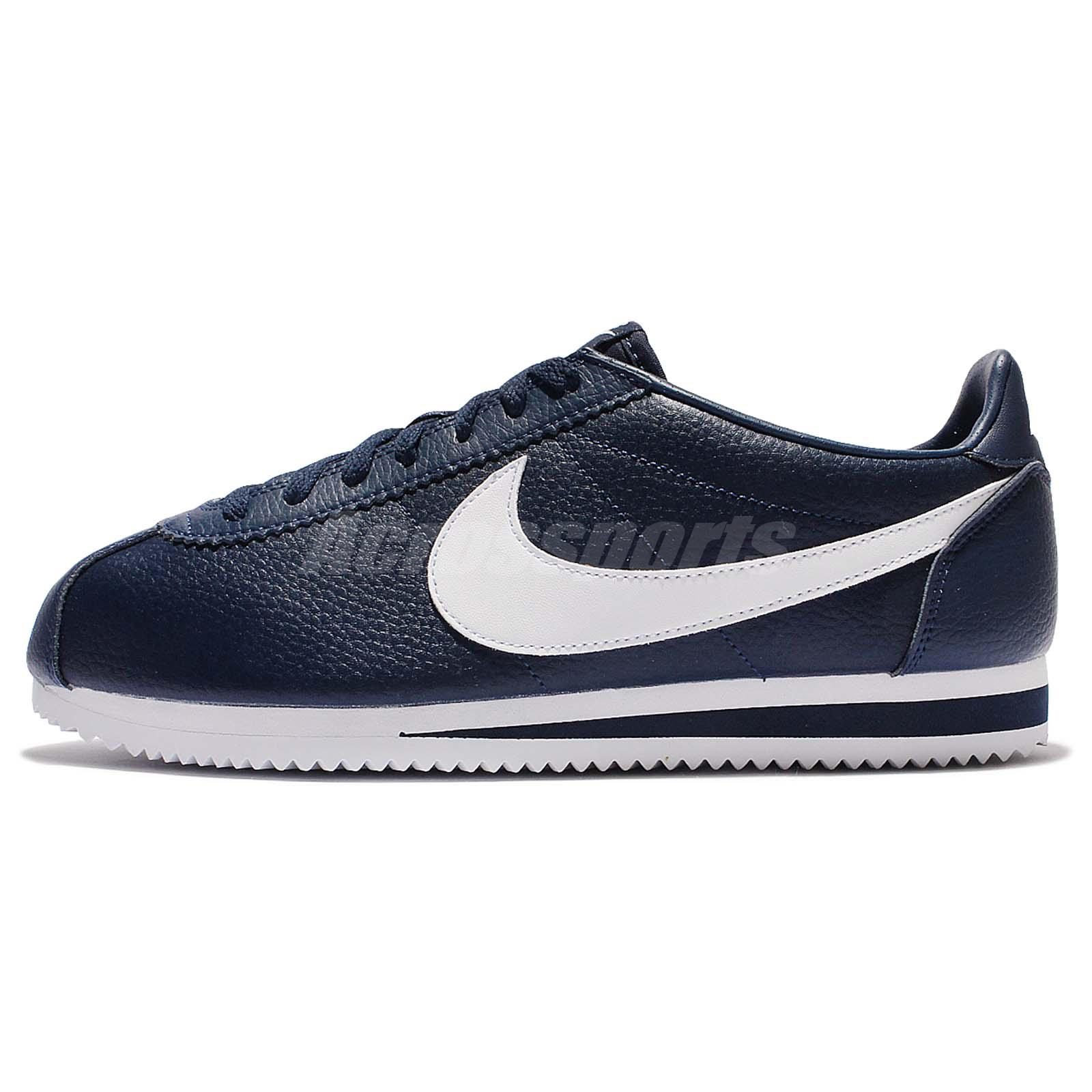 Nike Classic Cortez Leather Midnight Navy White Men Shoes Sneakers  749571-414