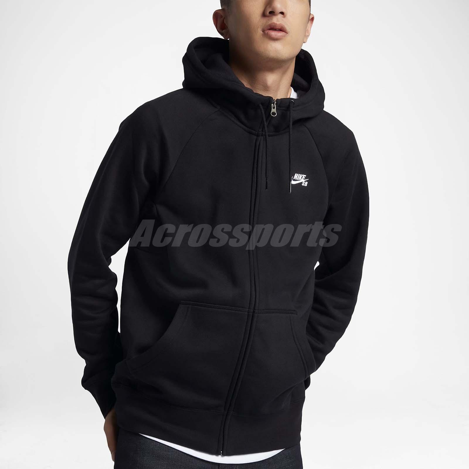 9989a190d5e50 Nike Men Sb Icon Full-Zip Hoodie Jacket Skateboarding X-Game Black ...