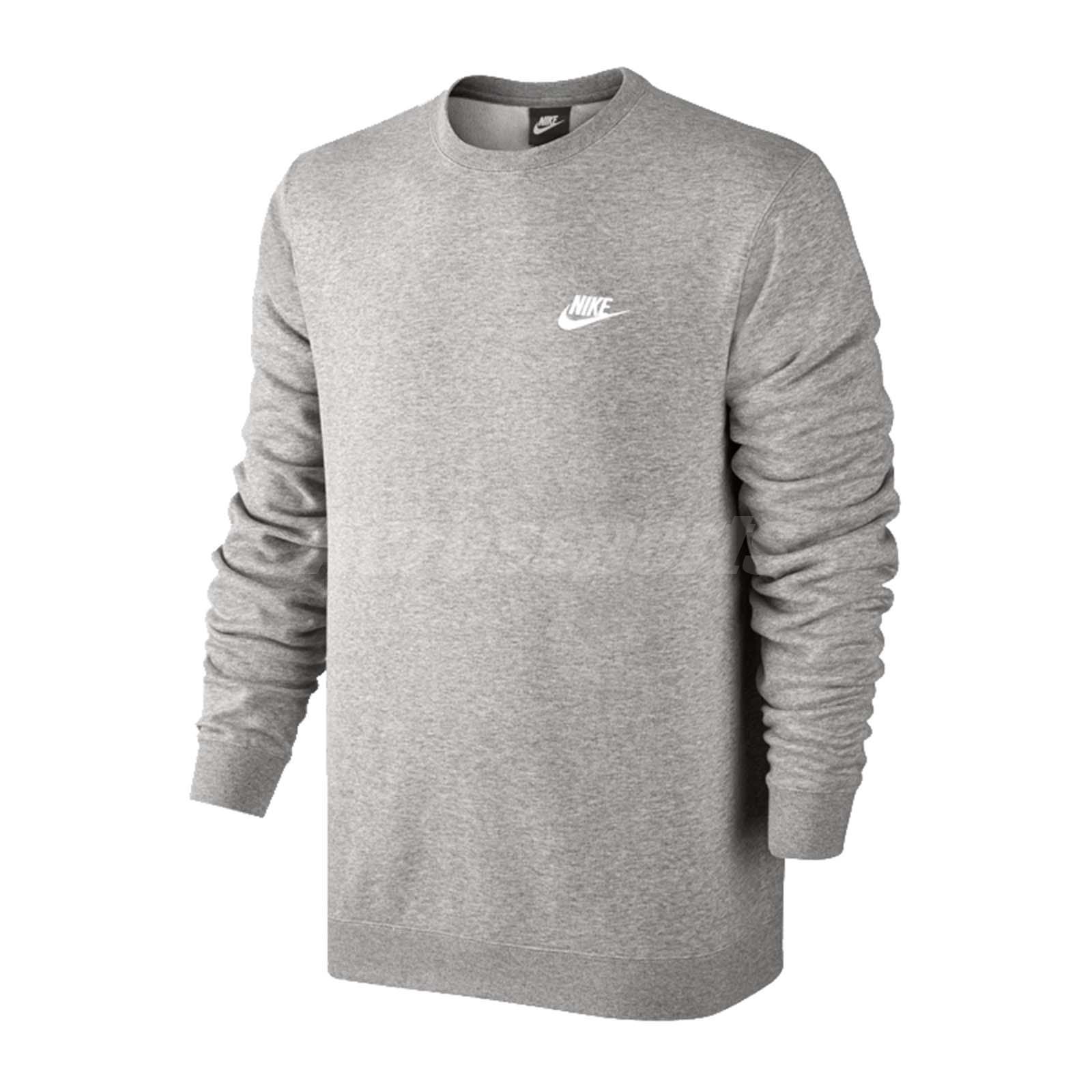 b1761e9bb909e Details about Nike Sportswear Crew French Terry Club Pullover Sweatshirt  Gym Grey 804343-063