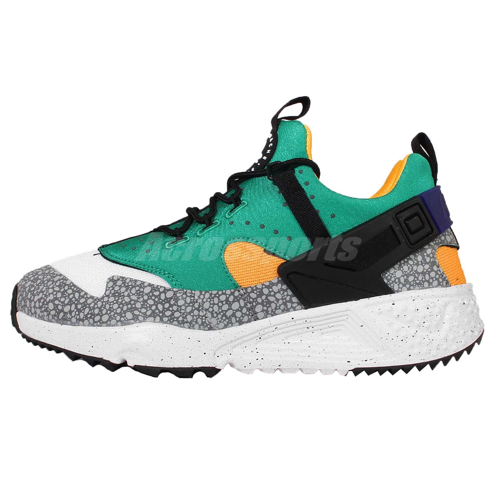Nike Air Huarache Utility PRM Grey Emerald Green Mens Running Shoes  806979-103