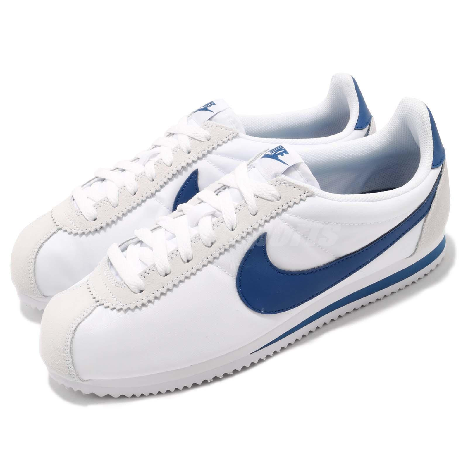 2ac9cffc4a49d Details about Nike Classic Cortez Nylon White Gym Blue Men Women Shoes  Sneakers 807472-102