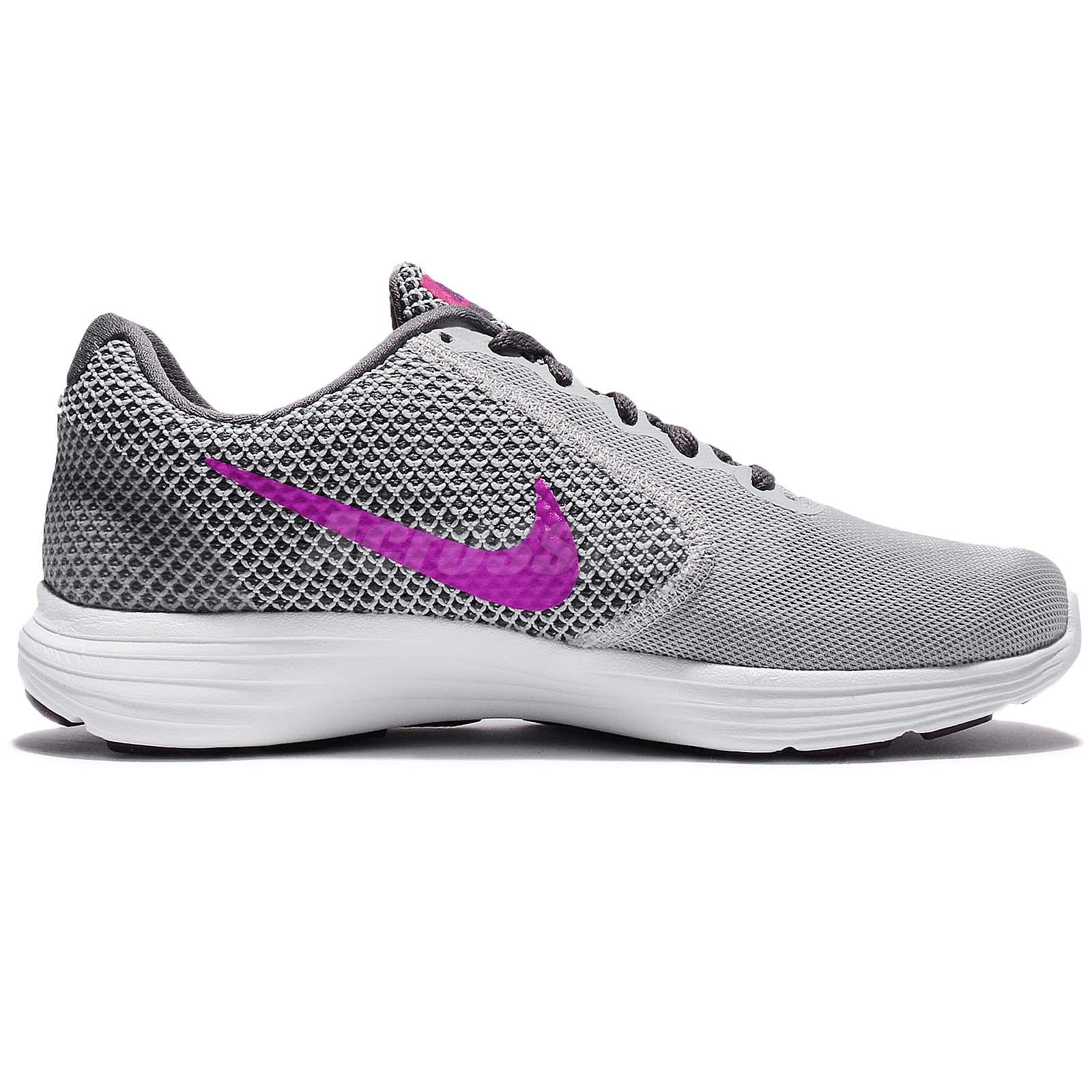 Nike Revolution 3 Womens 819303-009 Grey Fire Pink Mesh Running Shoes Size 6