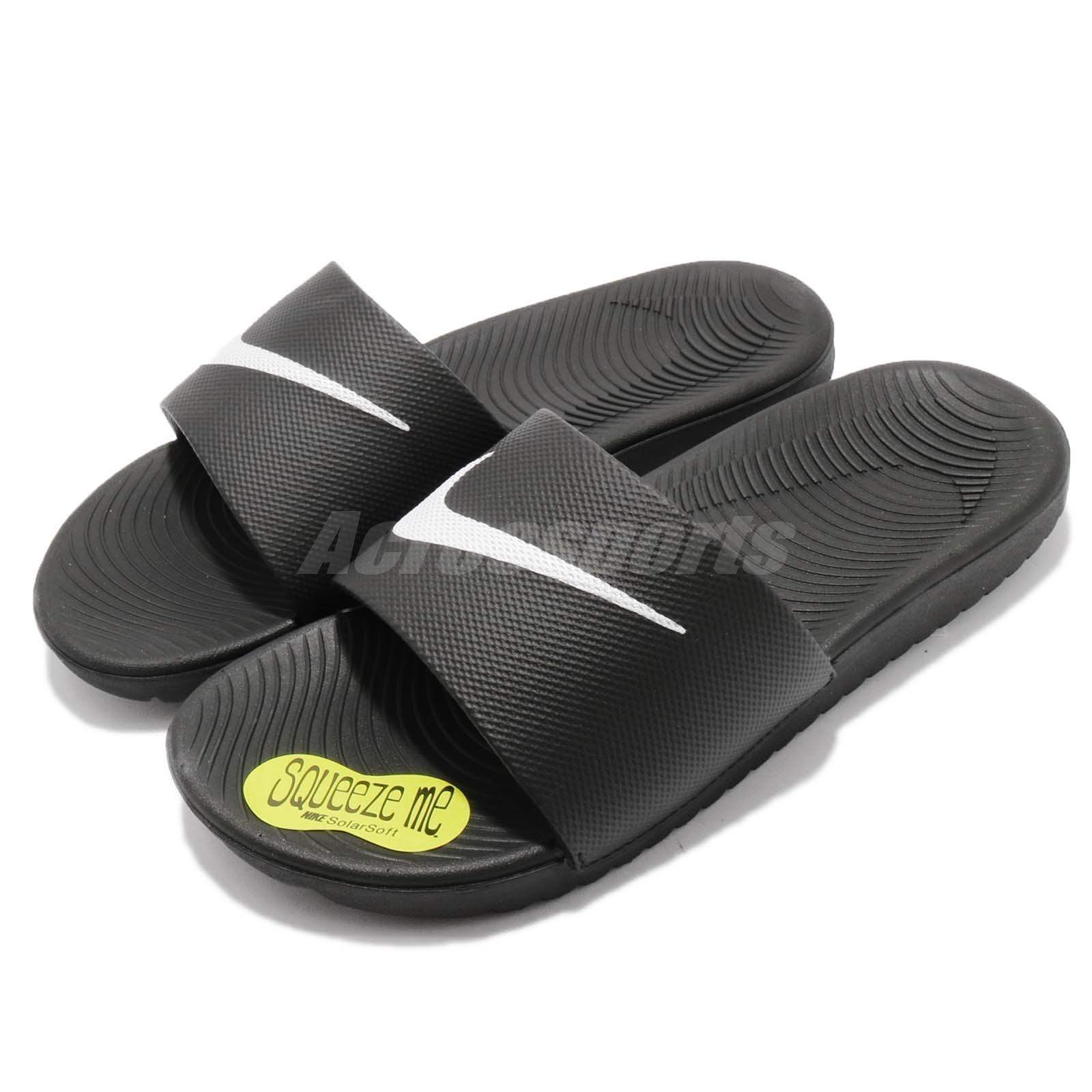 d3955e5298a73 Nike Kawa Slide GS PS Black White SolarSoft Youth Women Sports ...