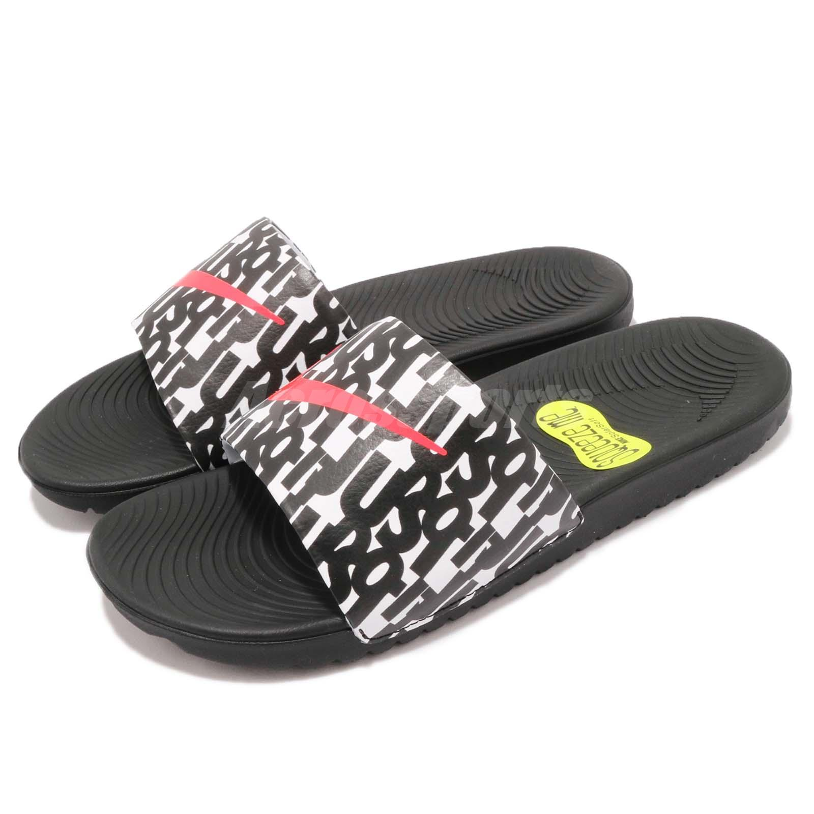 5bcdc3db4e83da Details about Nike Kawa Slide Print GS PS Just Do It Black Kid Youth Sports  Sandal 819358-007