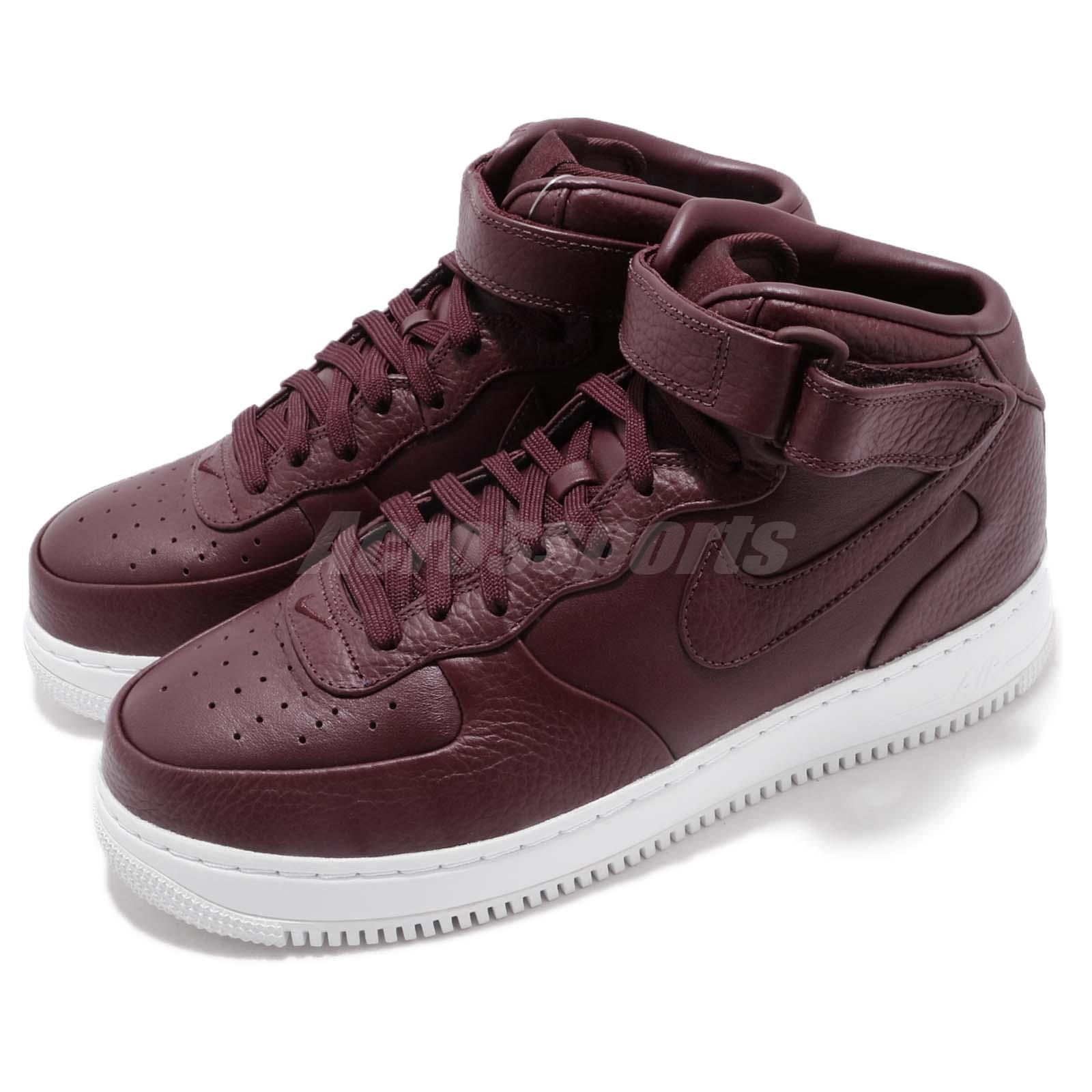 prix d'usine 4744a aaa52 Details about Nike NikeLab Air Force 1 Mid AF1 Night Maroon White Men Shoes  Sneaker 819677-661