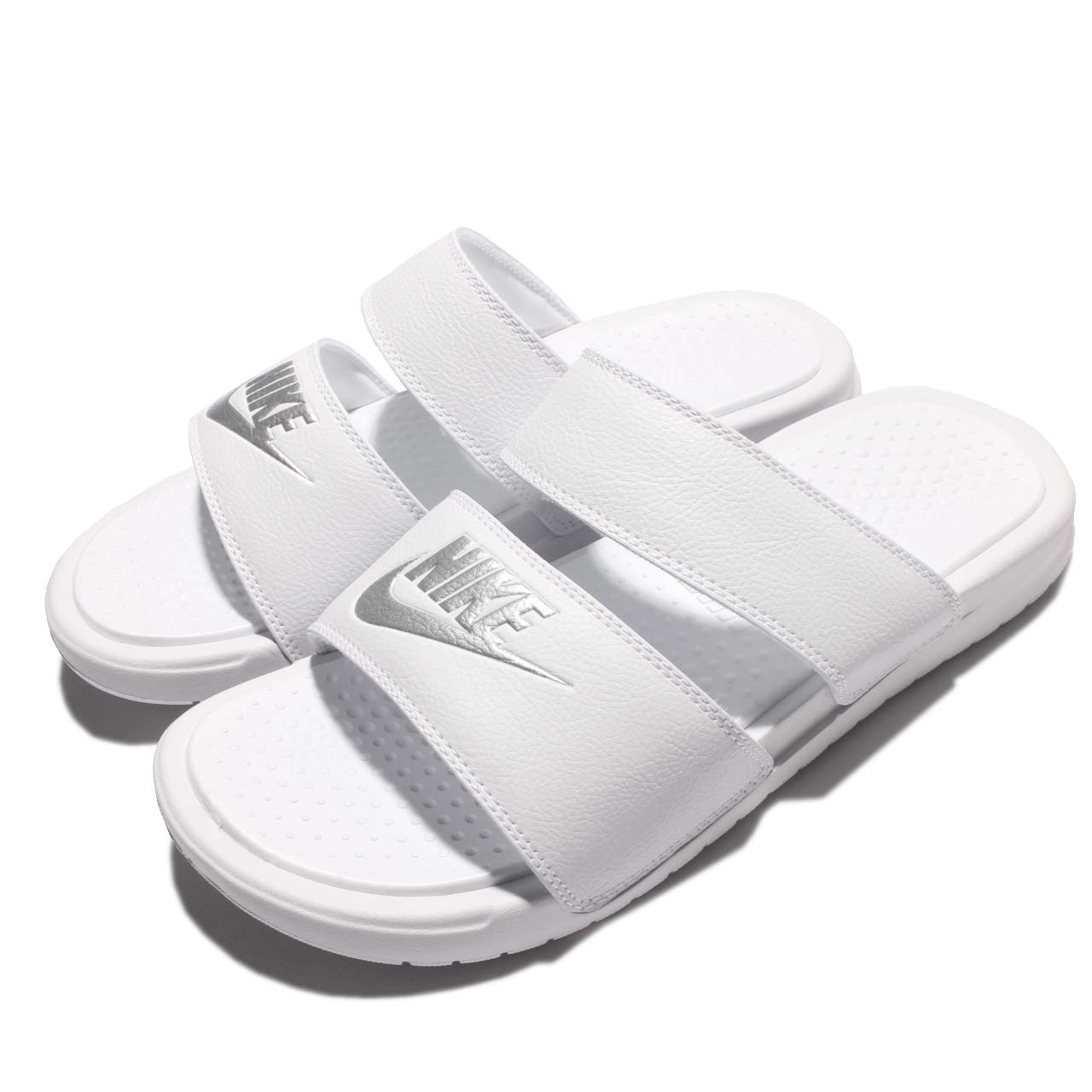 new style cd66d b26a5 Details about Wmns Nike Benassi Duo Ultra Slide Women Triple White Sandal  Slippers 819717-100