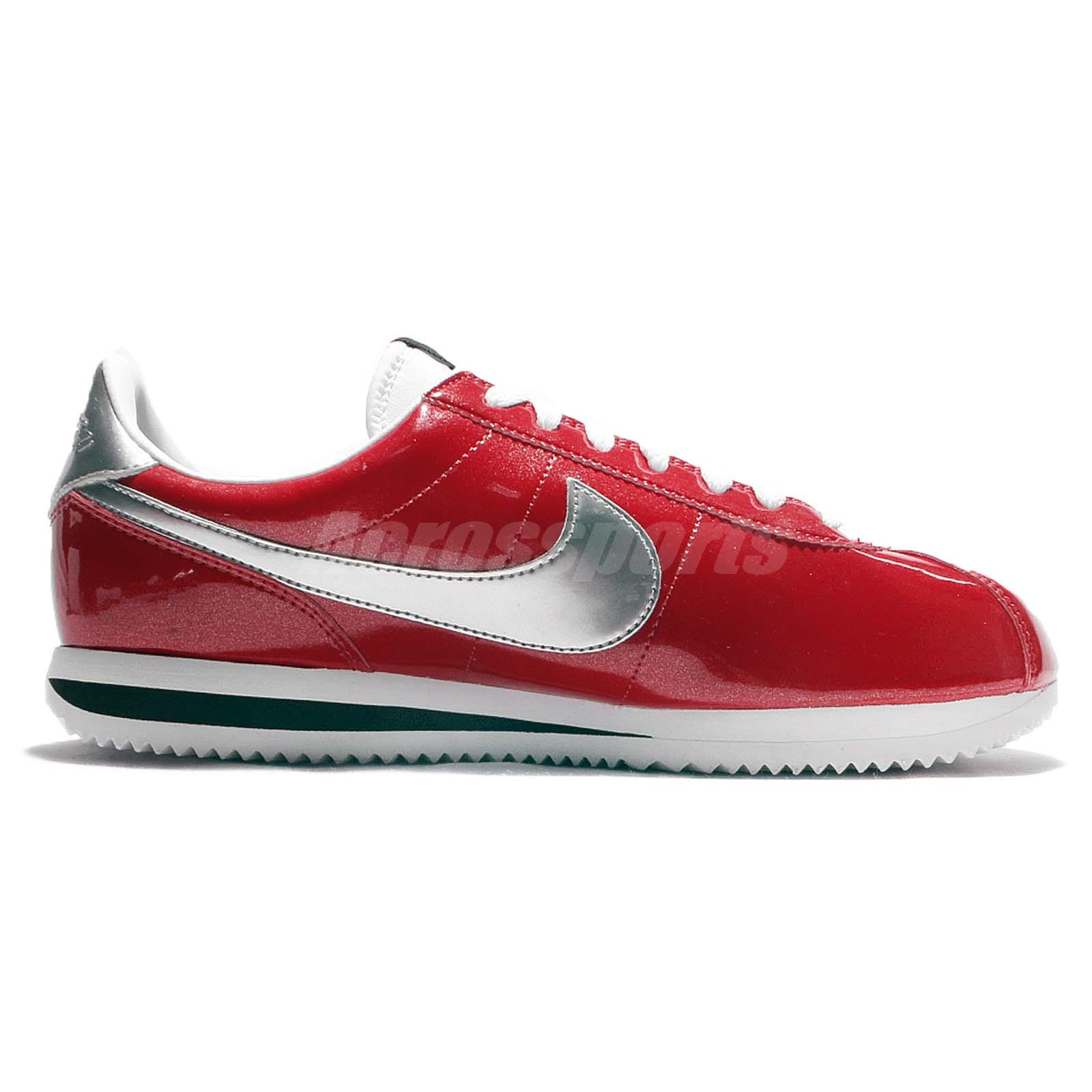 Nike Cortez Basic PREM QS Red White Patent Leather Mens