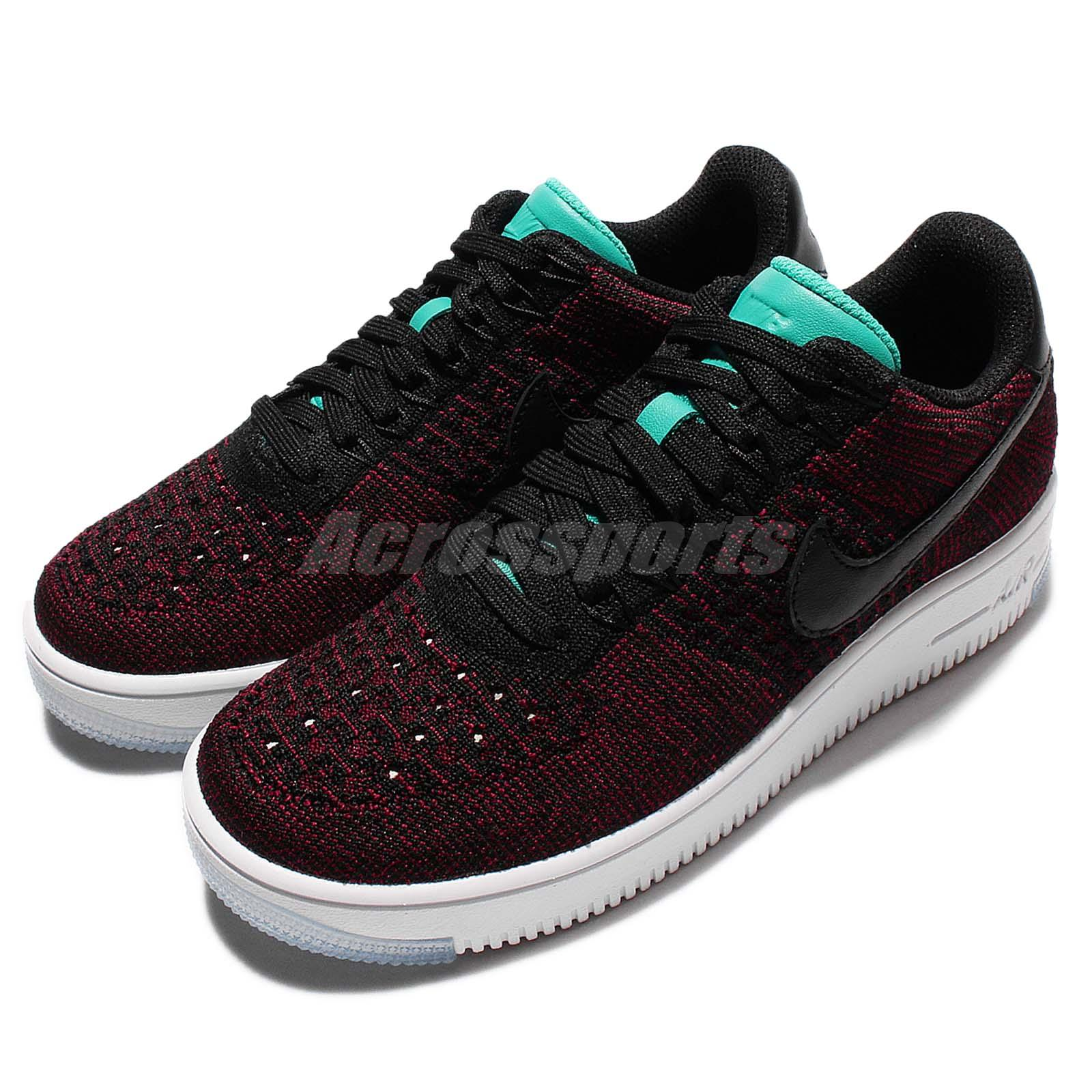 timeless design 46d5e 45c04 Details about Wmns Nike AF1 Flyknit Low Red Black Womens Air Force 1 Shoes  Sneakers 820256-002