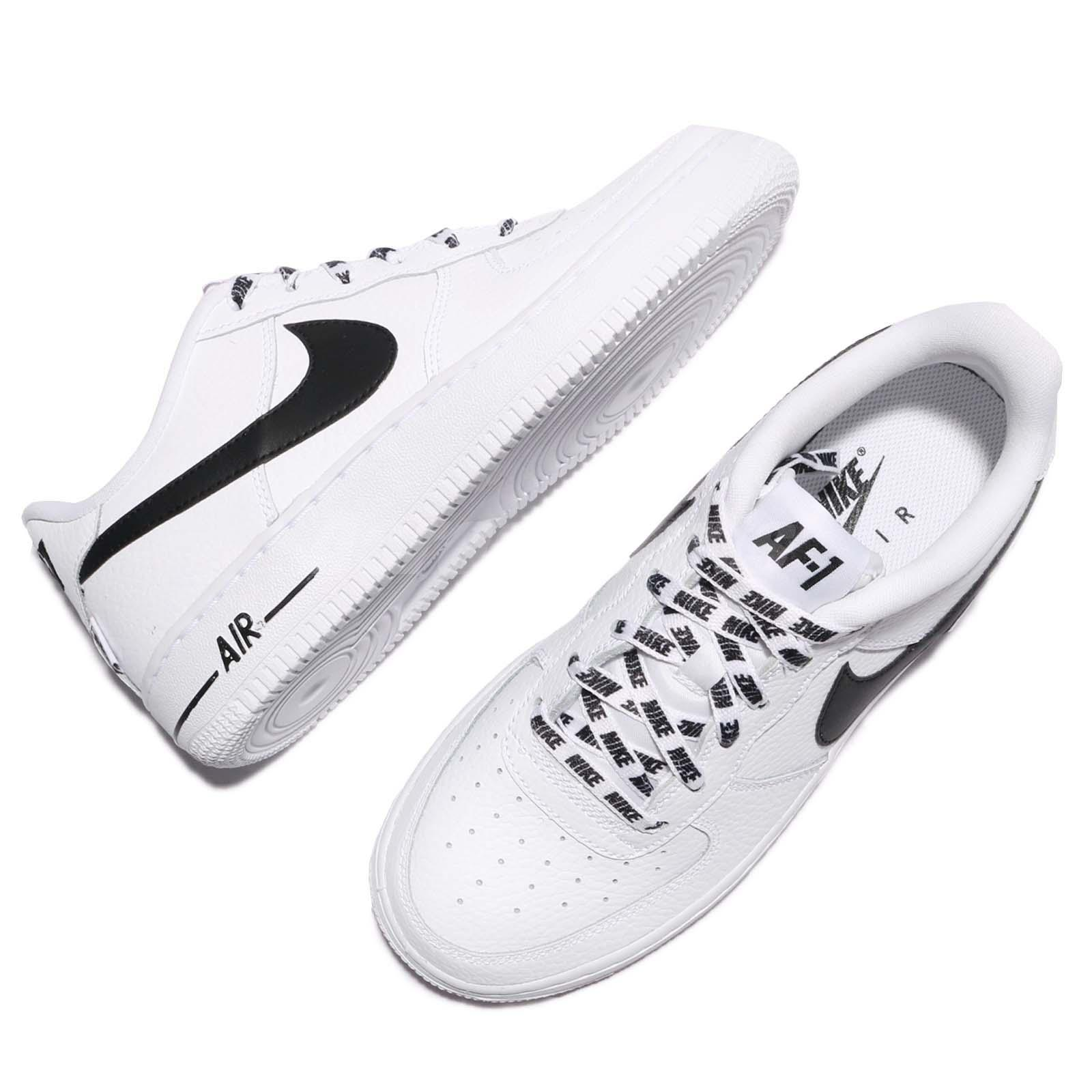 Nike Air Force 1 LV8 GS Low NBA White Black Leather Kids Women Shoes ... bcdca2b8f