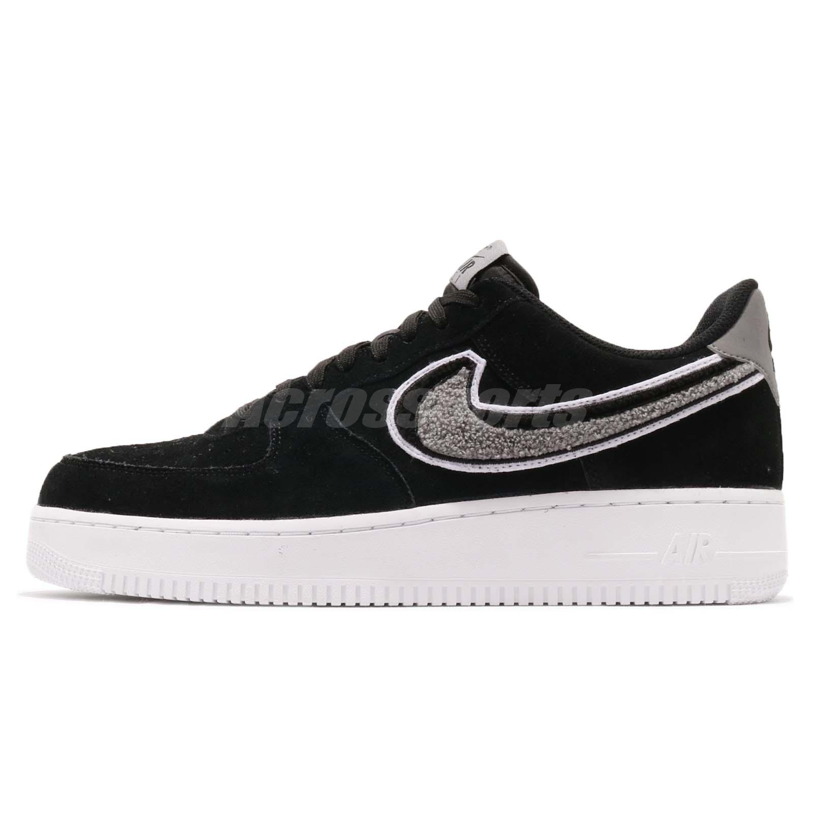 info for 19170 573bf Details about Nike Air Force 1 07 LV8 AF1 Chenille Swoosh Black Men Casual  Shoes 823511-014