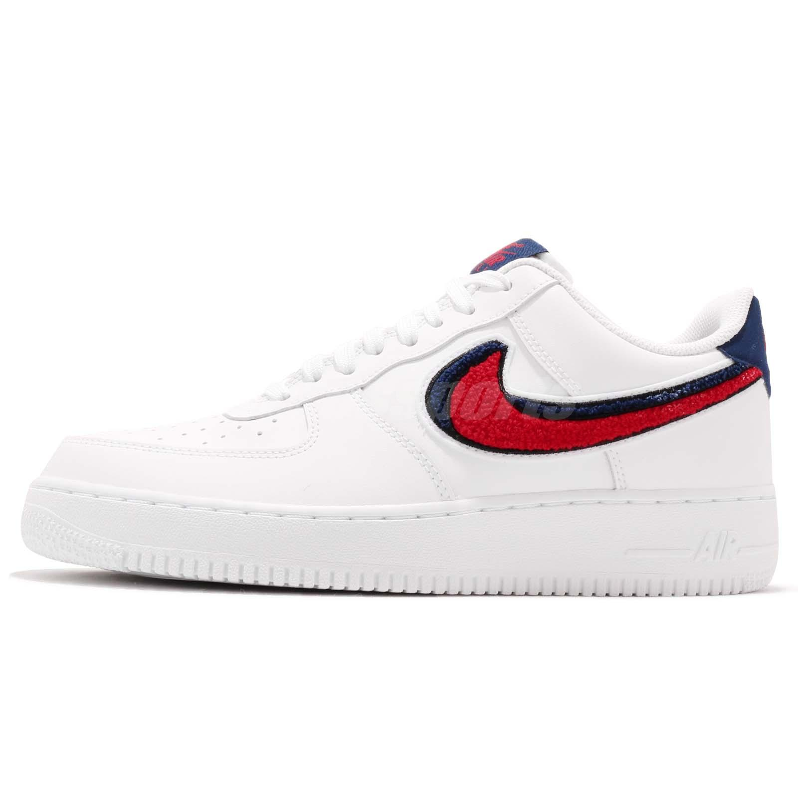 a58f3d9f444a ... canada nike air force 1 07 lv8 af1 chenille swoosh white red blue men  shoes 823511