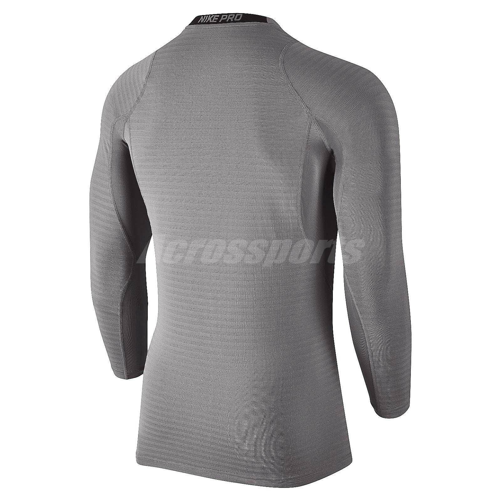 e9329ac9c4 Details about Nike Pro Warm Compression Long Sleeve Grey Mens Training  Shirts Sport 826596-037