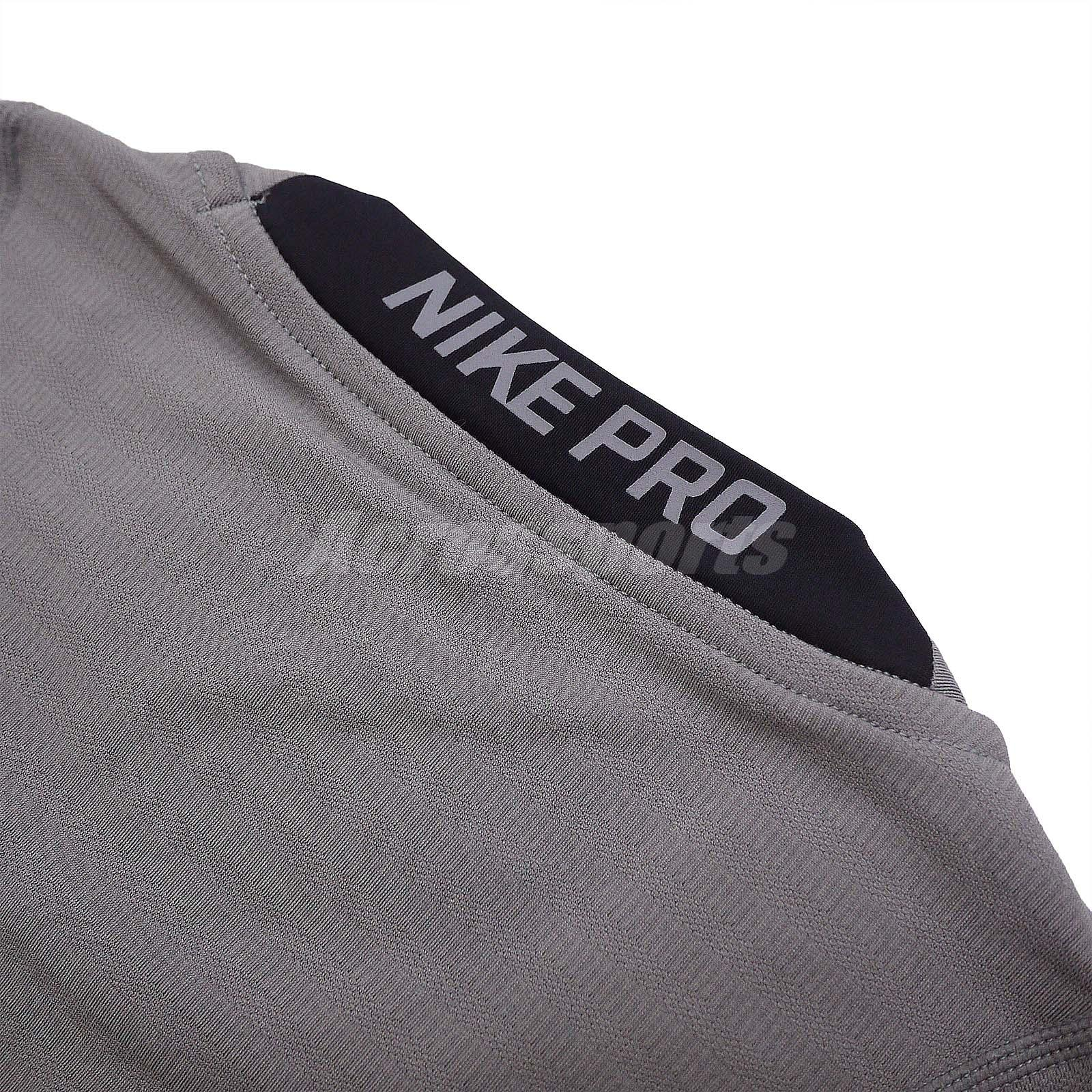 e4403fc0c6 Nike Pro Warm Compression Long Sleeve Grey Mens Training Shirts ...