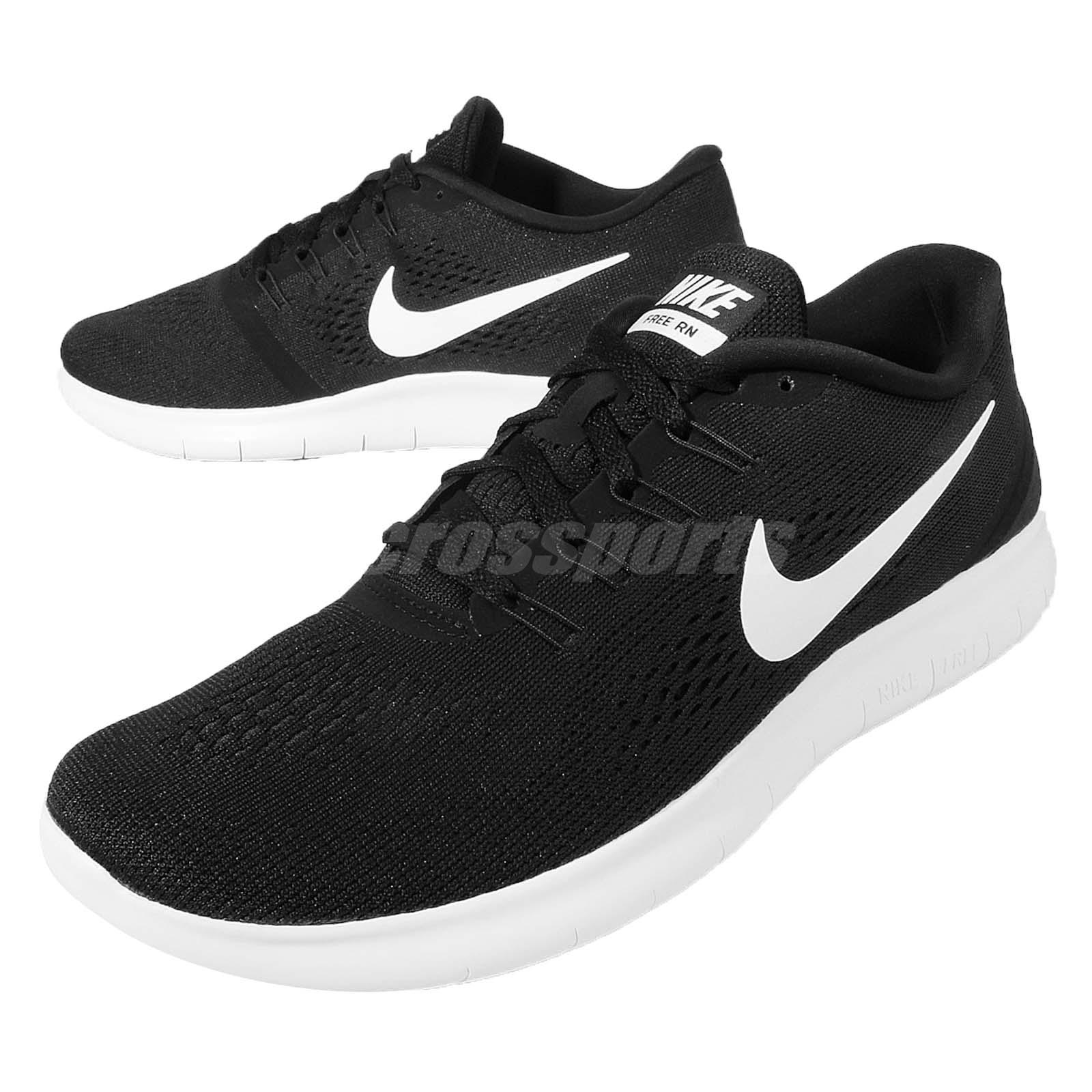 nike free rn run black white mens running shoes trainers. Black Bedroom Furniture Sets. Home Design Ideas