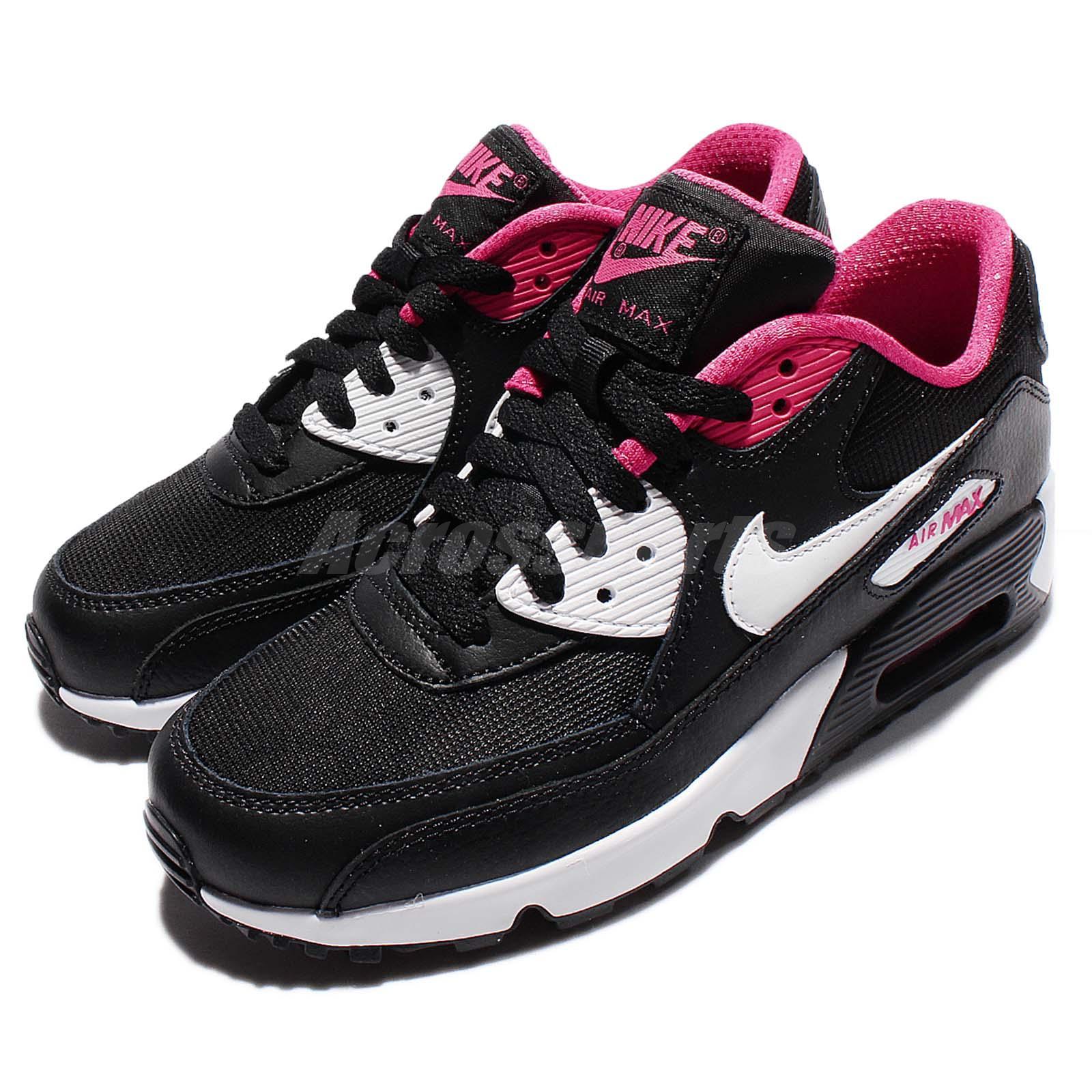 nike air max 90 mesh gs black pink kids women running. Black Bedroom Furniture Sets. Home Design Ideas
