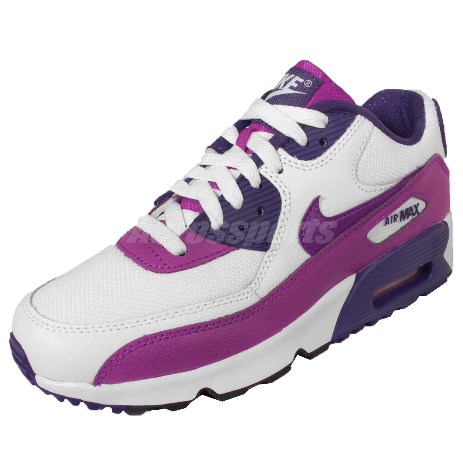 nike air max 90 mesh gs white purple kids youth running. Black Bedroom Furniture Sets. Home Design Ideas
