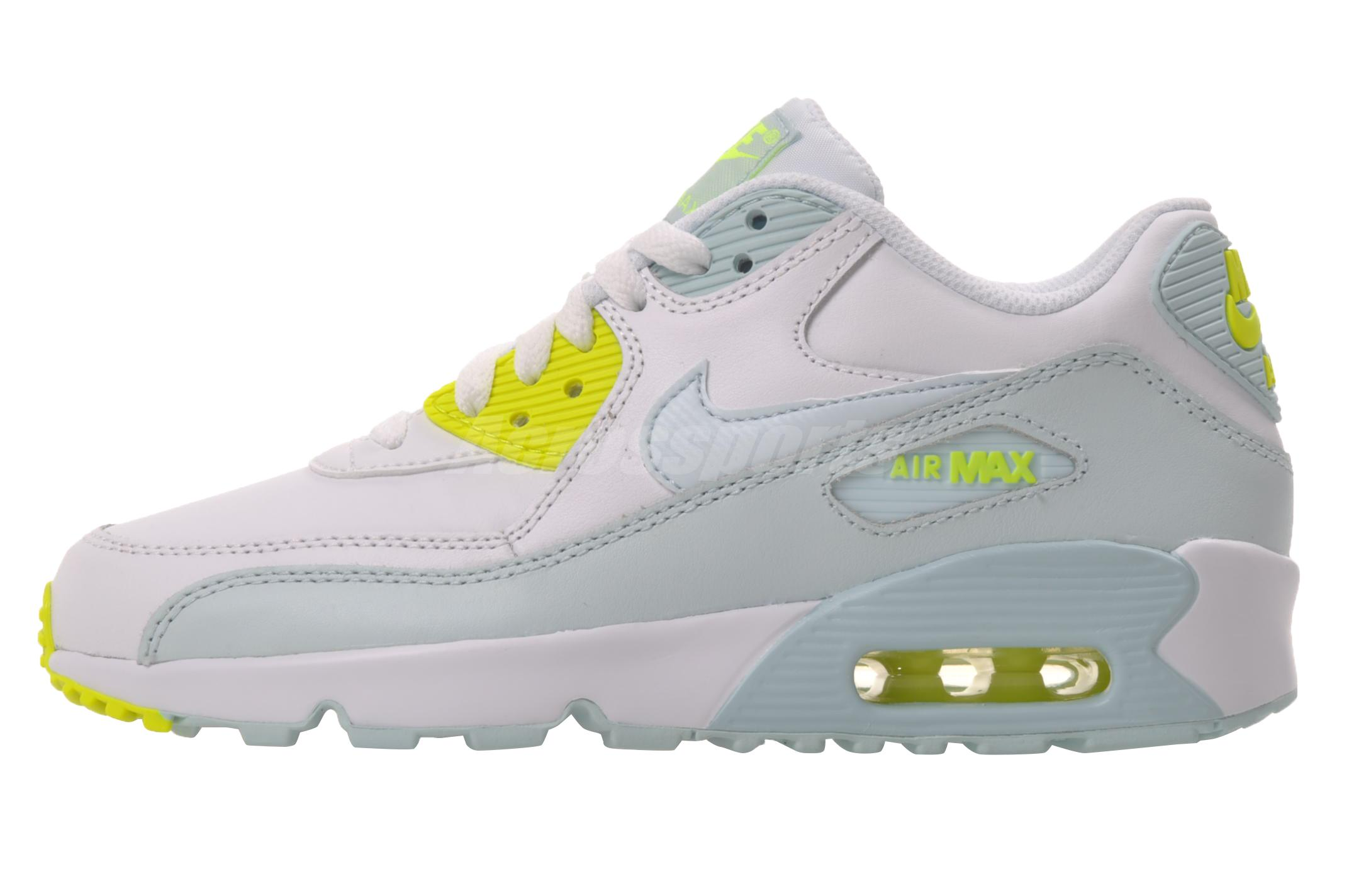 brand new e7316 029d5 ... Womens 655020  Nike Air Max 90 LTR GS Running Kids Youth Shoes White  Blue 833376-100 ...