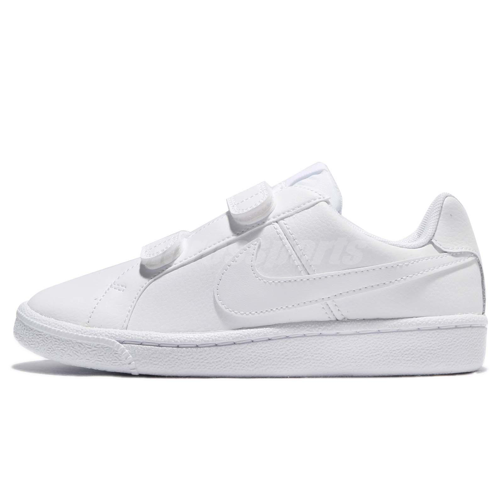 Nike Court Royale PSV Triple White Leather Kids Preschool Boys Shoes  833536-102 6d37ae291cee2
