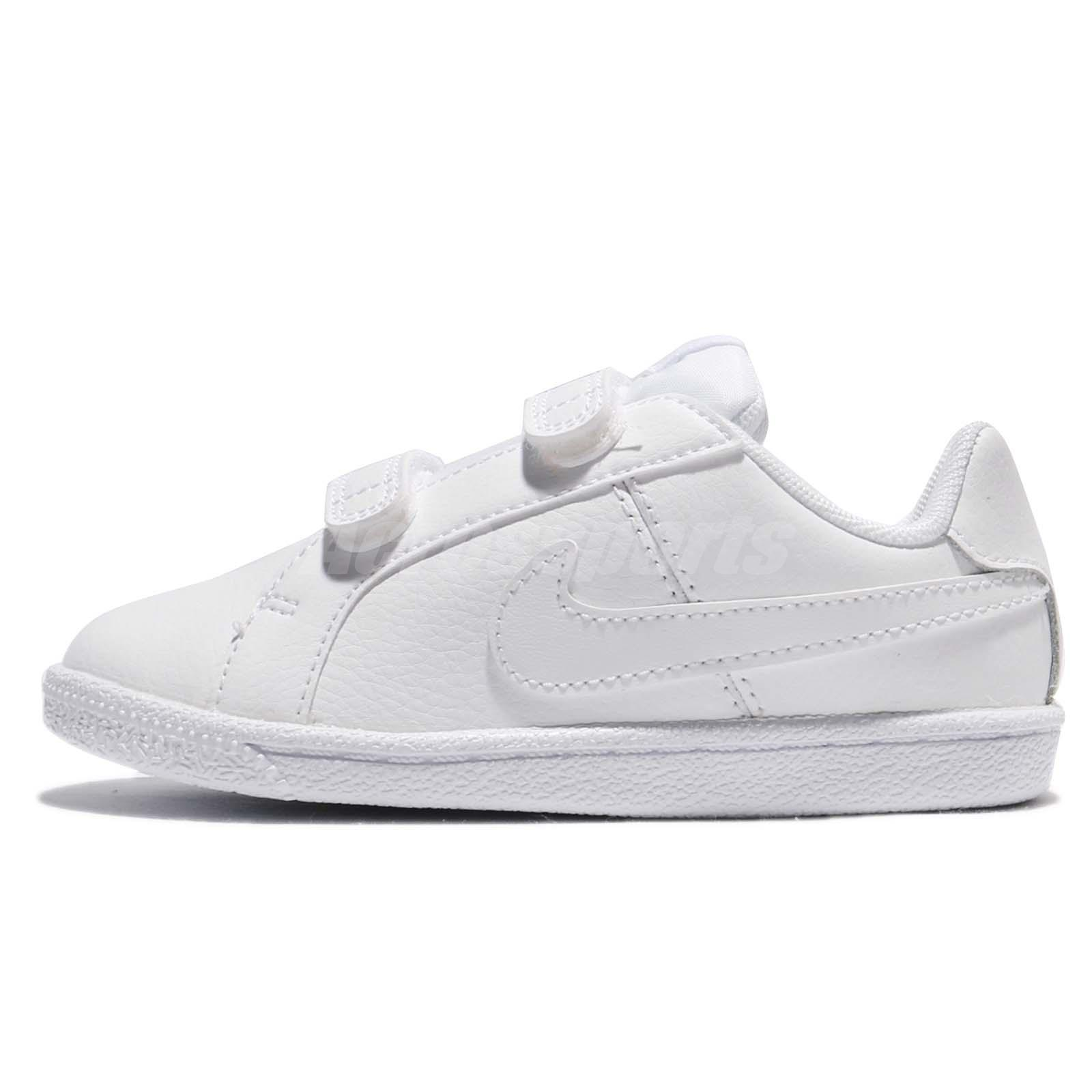 Nike Court Royale TDV Triple White Leather Toddler Infant Baby Shoes