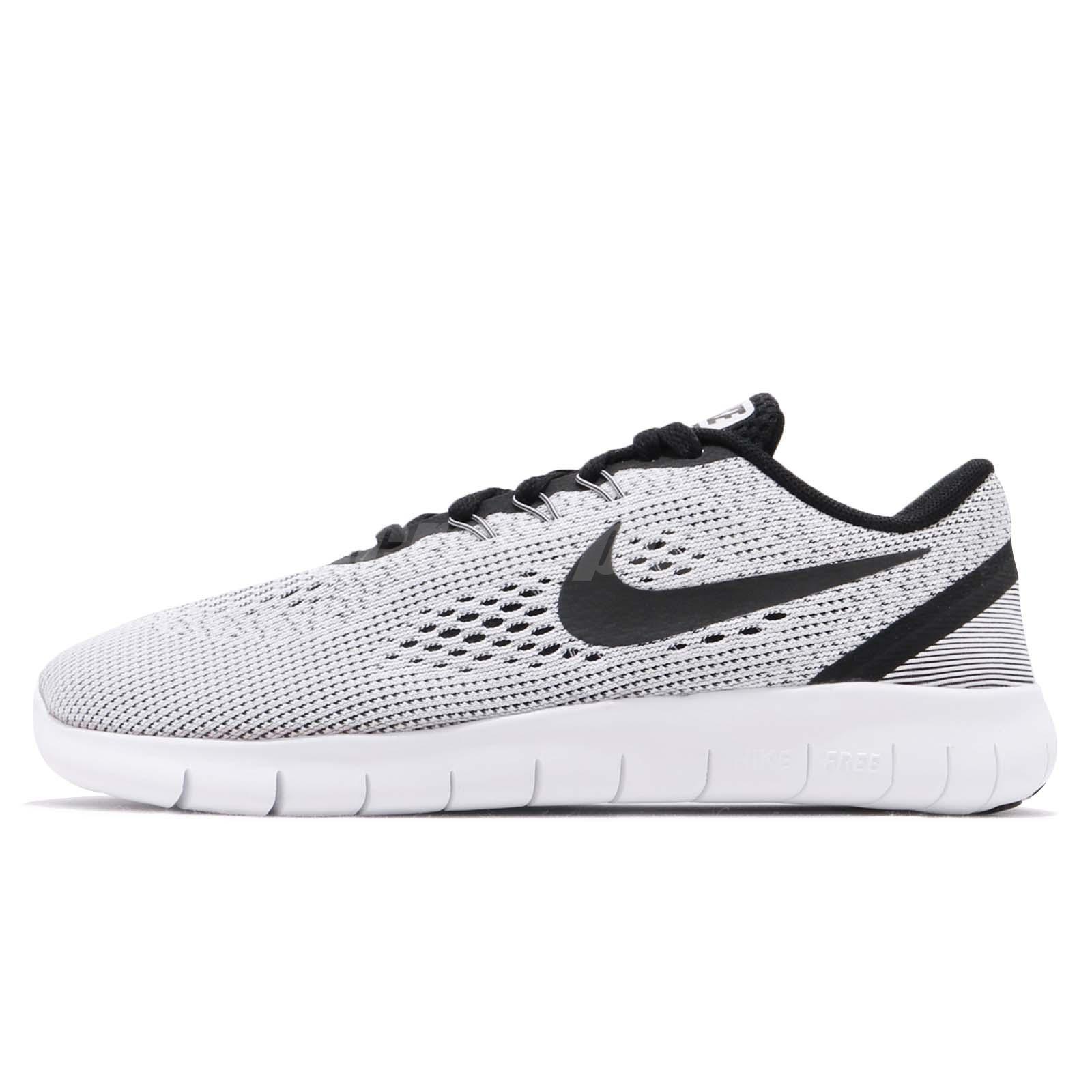 11a96e0aa0a54 Nike Free RN GS Run White Black Kid Youth Women Running Shoes Sneaker 833989 -100