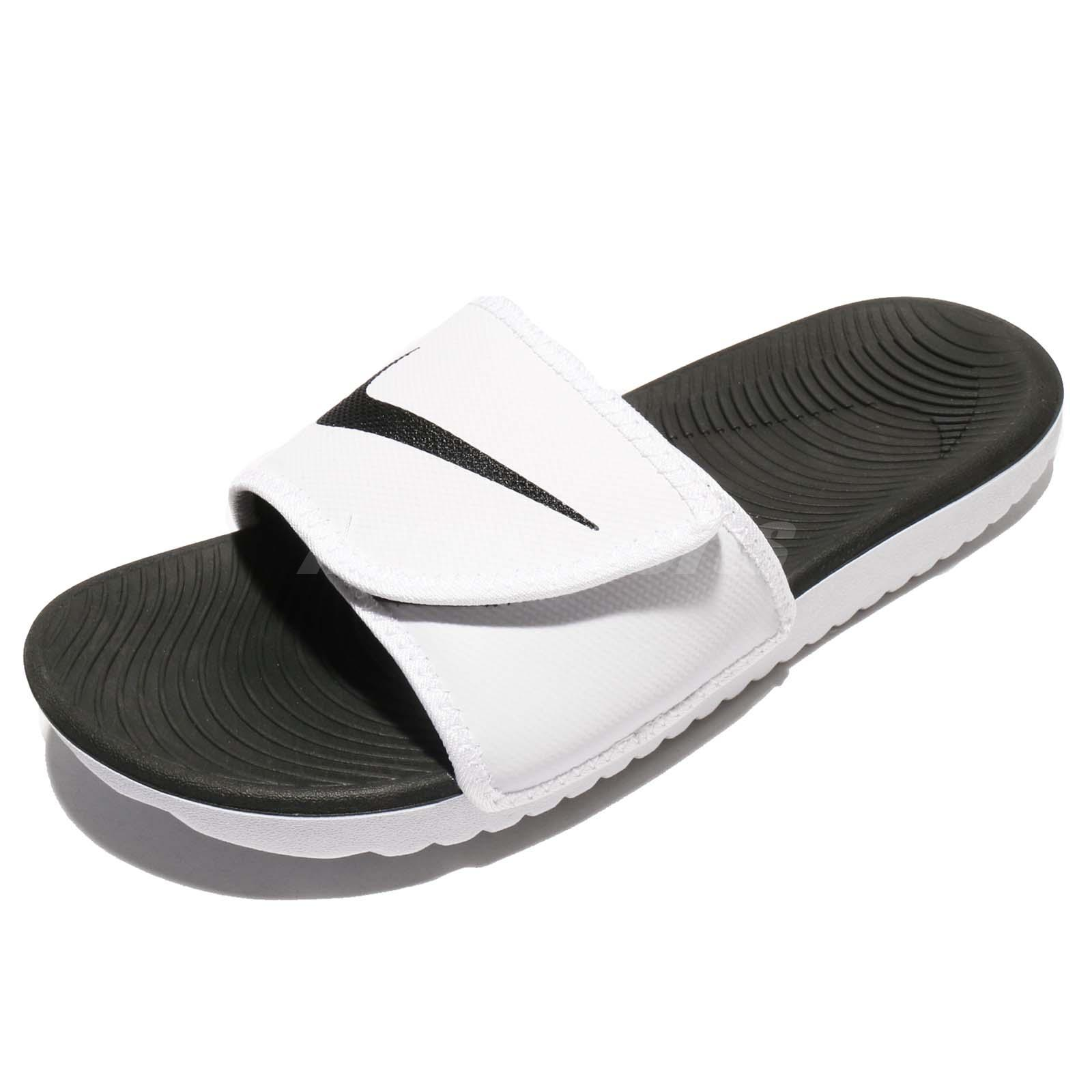 Nike Kawa Adjust White Black Solarsoft Men Strap Sandal Slides 834818-101