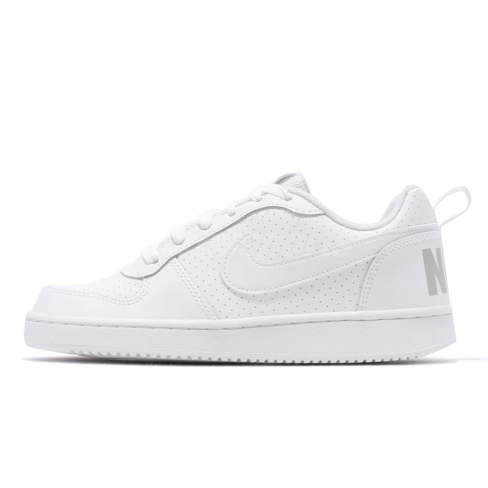 64d16dc3f41 Nike Court Borough Low GS White Grey Kids Womens Tennis Casual Shoes  839985-100