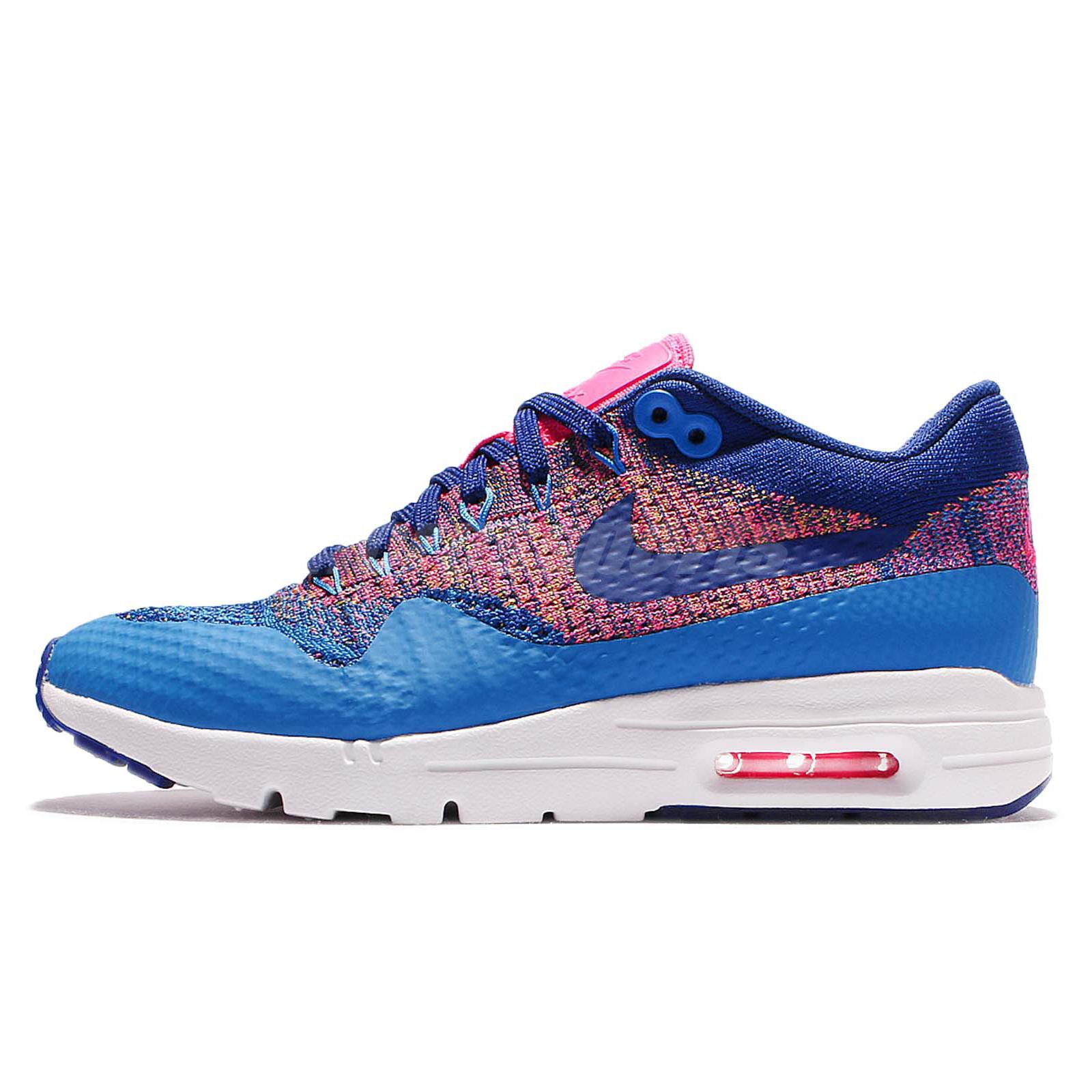 Nike air max 1 running shoes - Wmns Nike Air Max 1 Ultra Flyknit Blue Pink Womens Running Shoes 843387 400