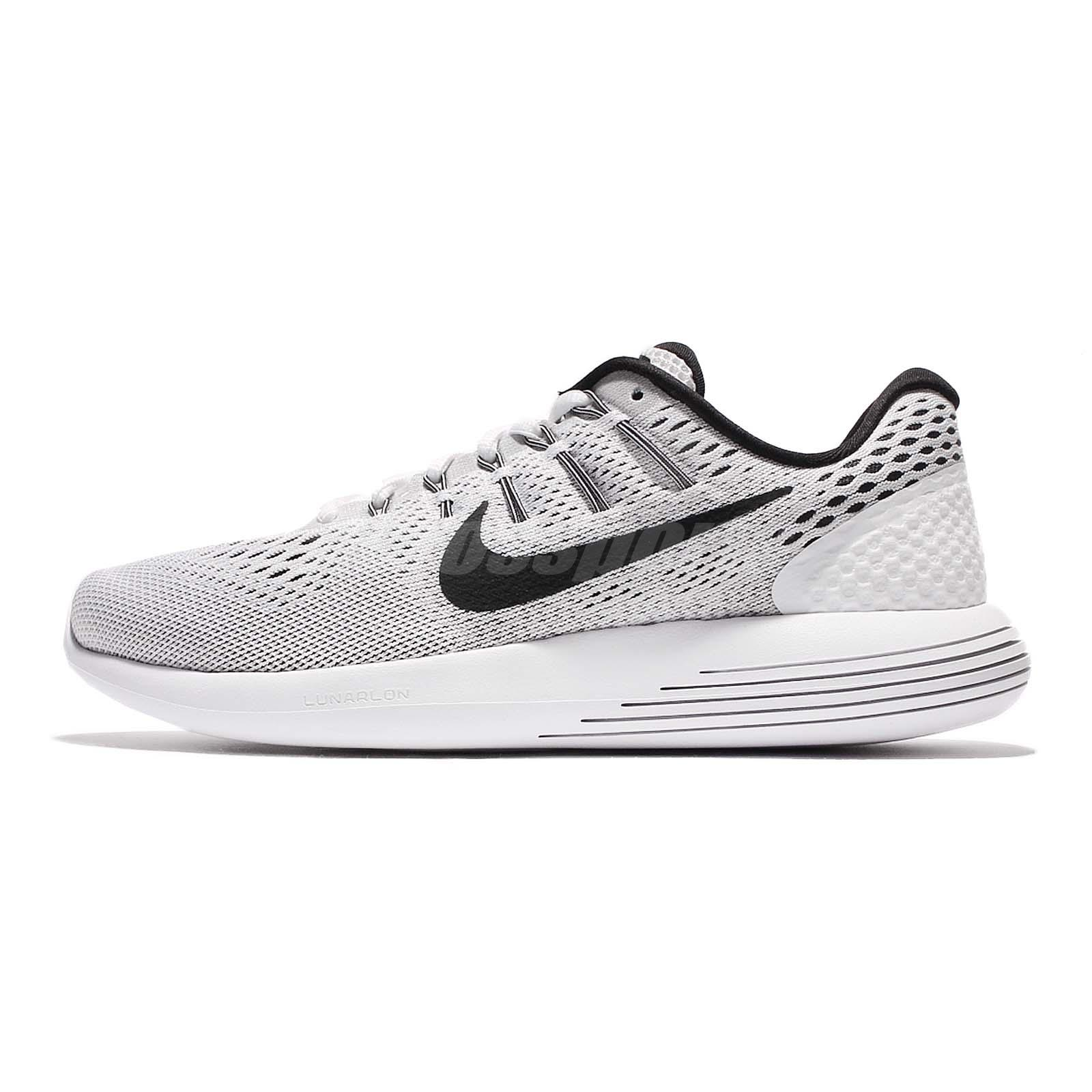 8de4092d4301 Nike Lunarglide 8 VIII White Grey Black Mens Running Shoes Lunarlon  843725-100