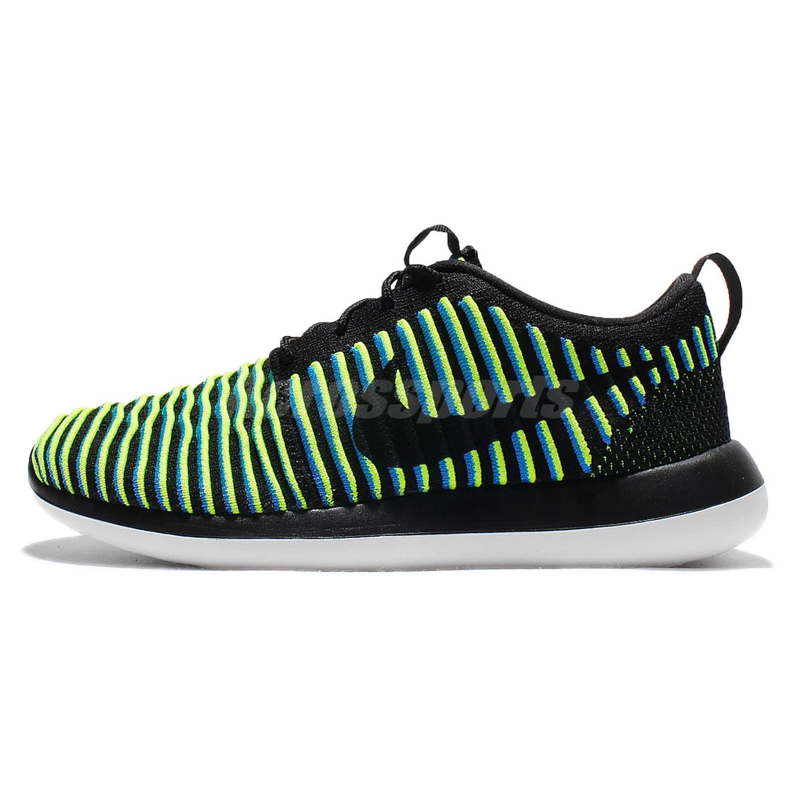 cheaper a5861 c99fe ... Wmns Nike Roshe Two Flyknit 2 Rosherun Black Volt Women Running Shoes  844929-003 ...