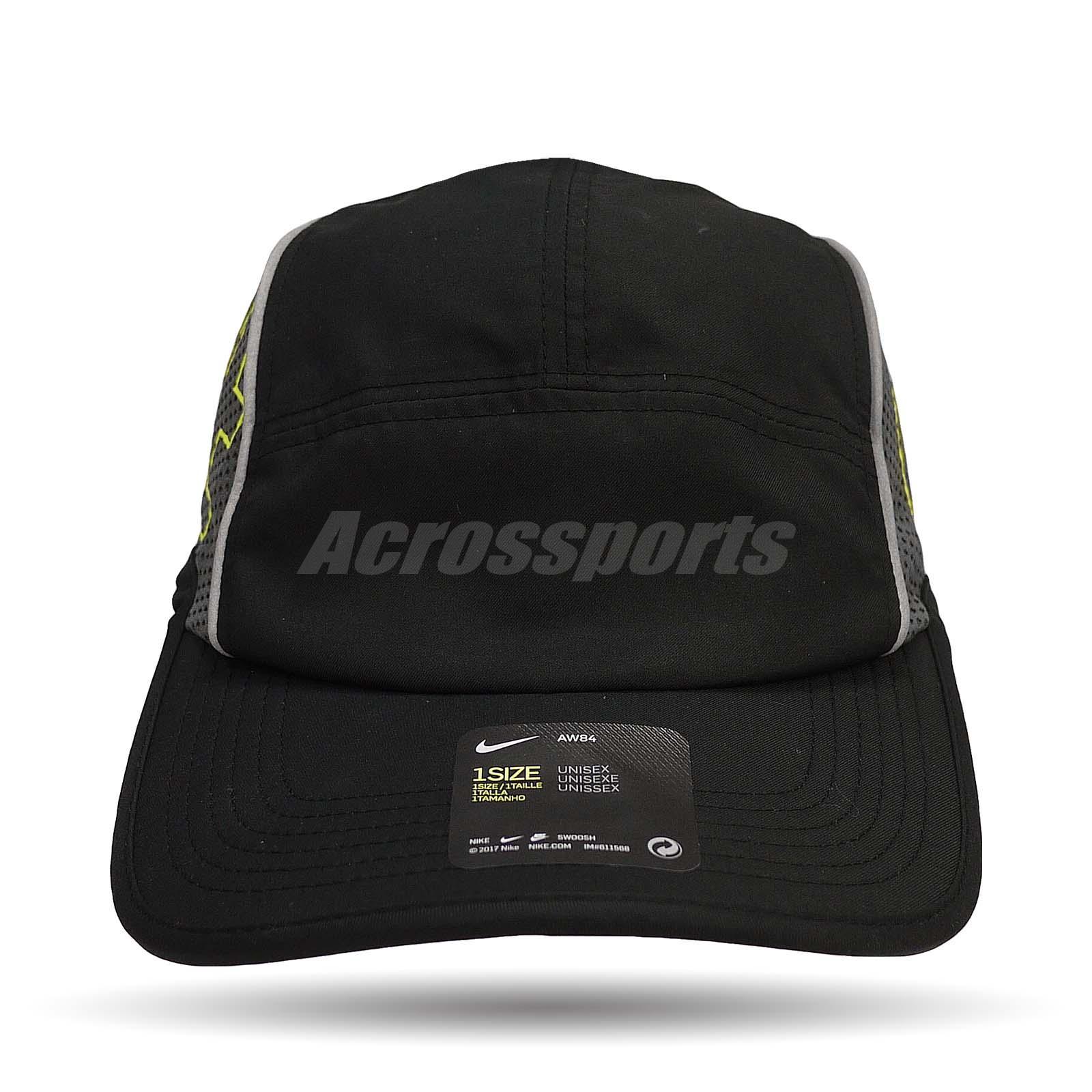 Nike Men Aerobill Cap Run AW84 Reflective Running Black Volt Silver ... 5daf9052a9d