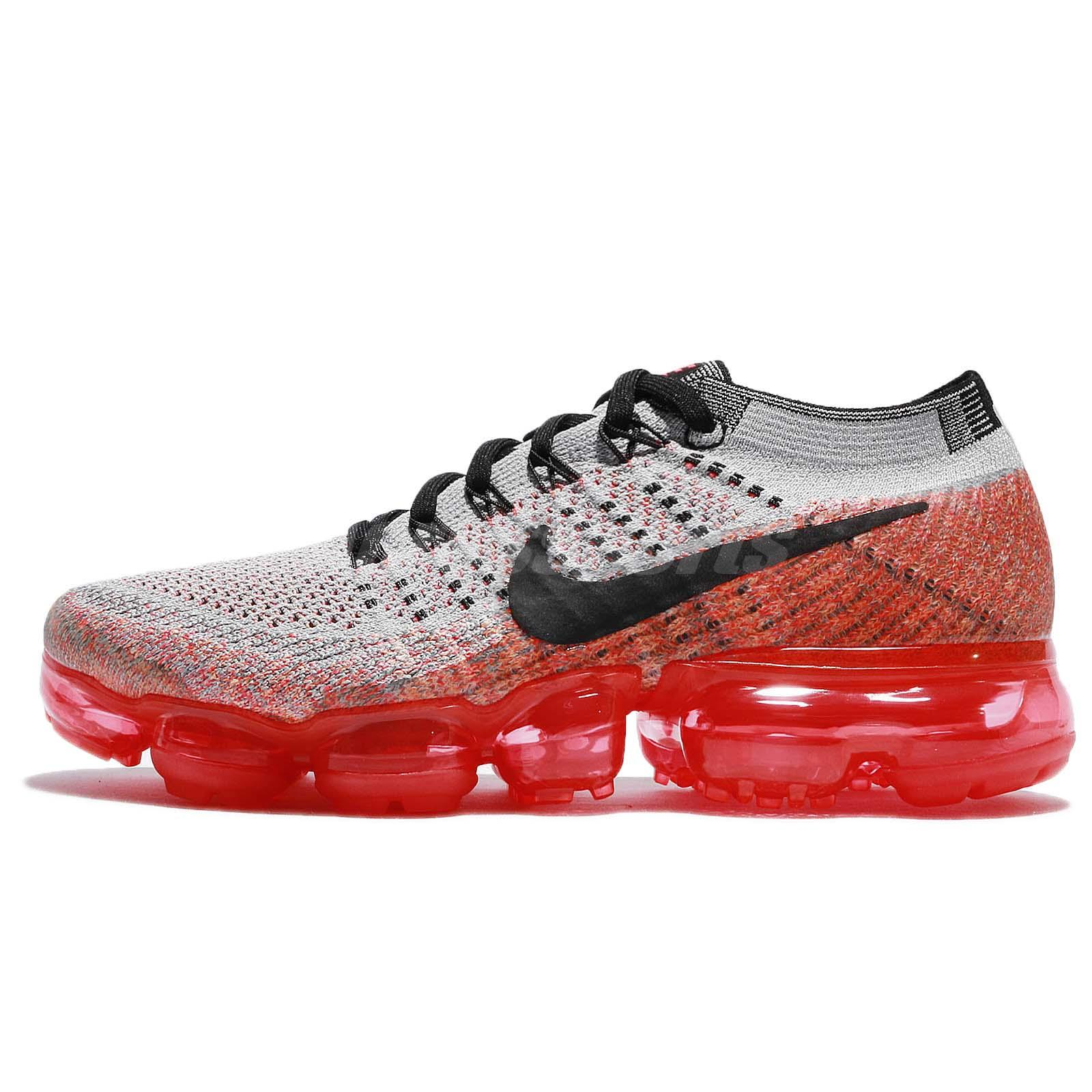 Wmns Nike Air Vapormax Flyknit Wolf Grey Red Crimson Women Running