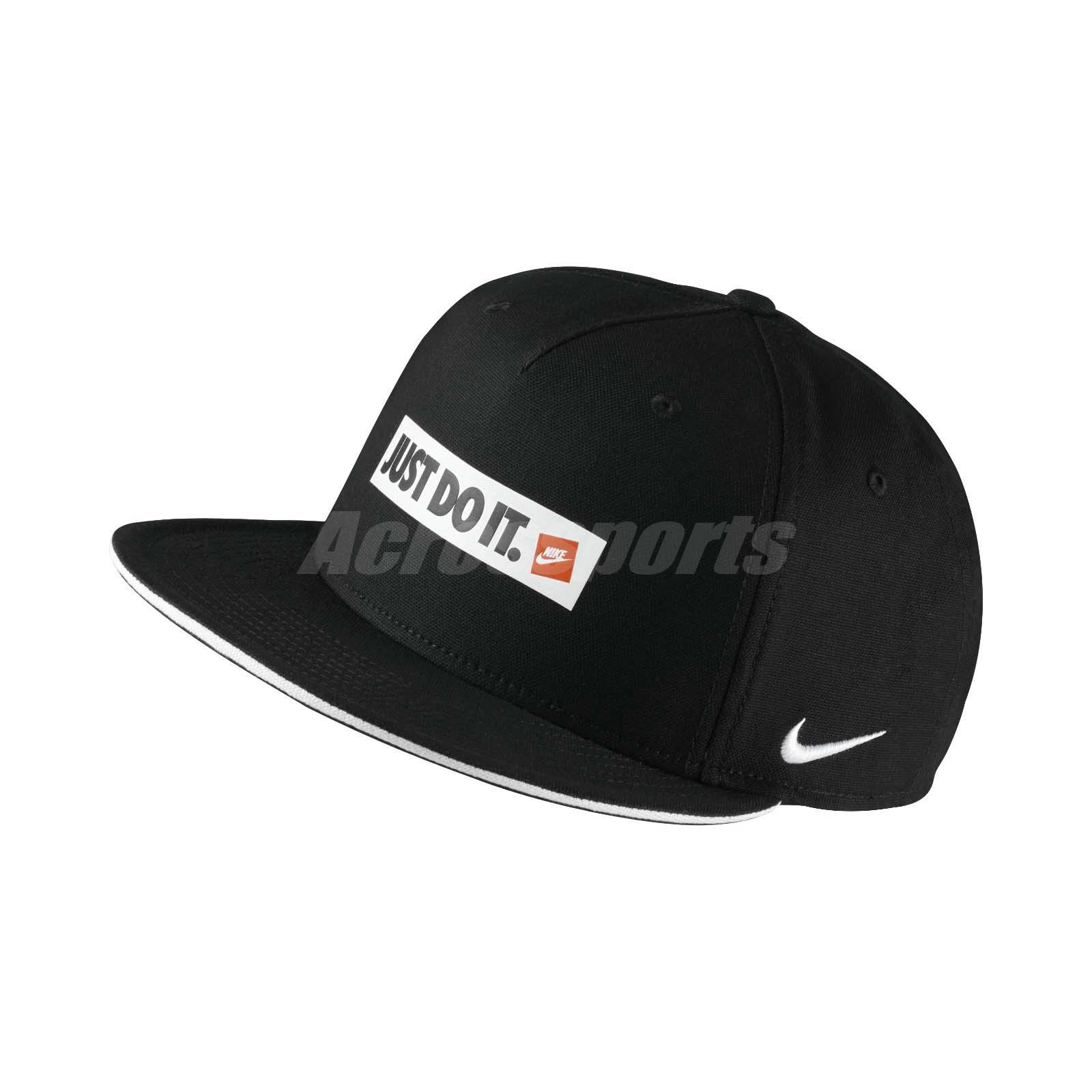 b9668f6163487 Details about Nike Unisex Sportswear TRUE CAP Swoosh Just Do It Black White  Hat 851645010