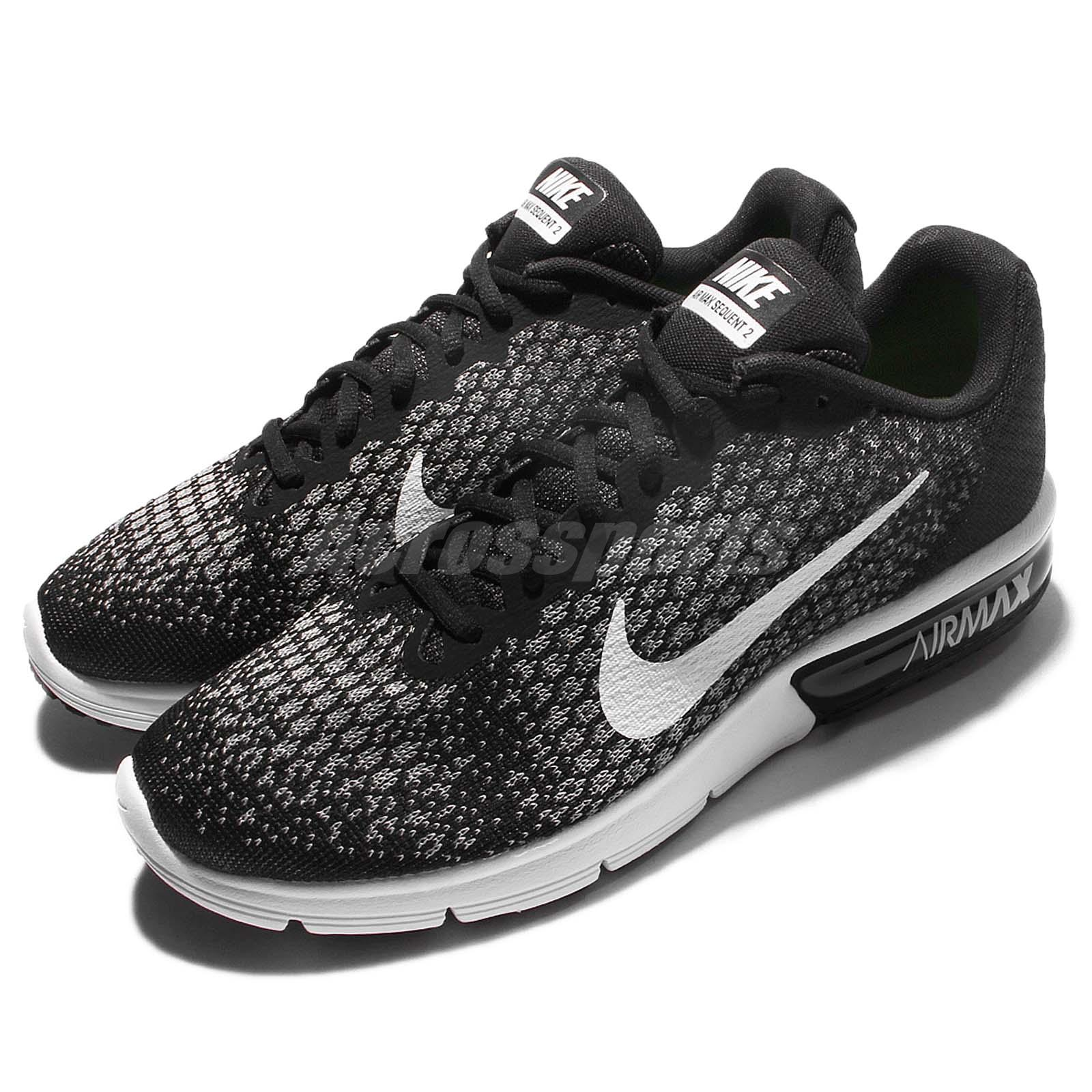 dfe8e08ca04 Details about Nike Air Max Sequent 2 II Black White Men Running Shoes  Sneakers 852461-005