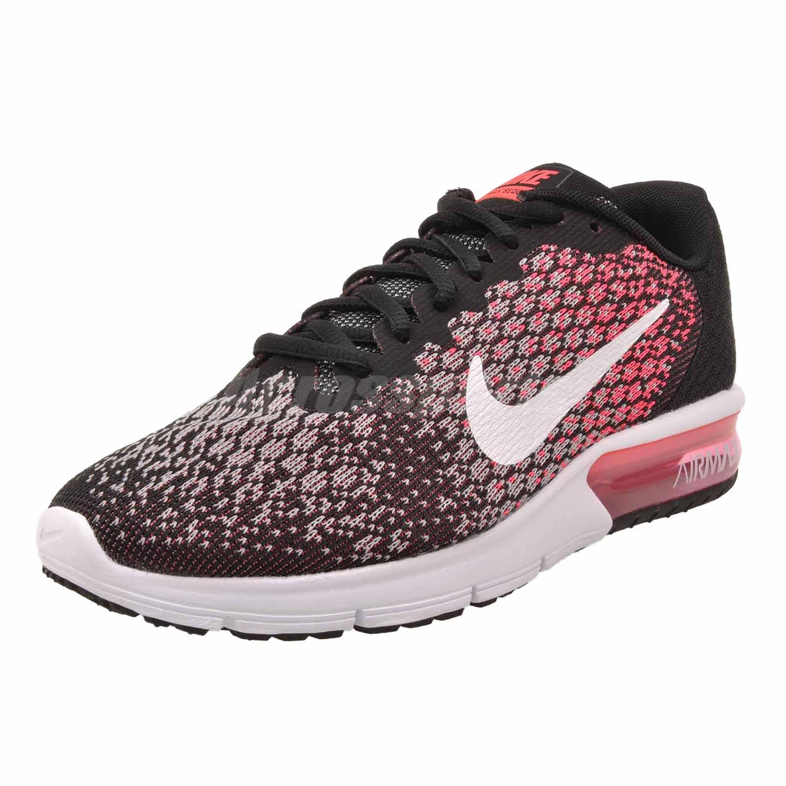 aa80ff4e47fd76 Nike Wmns Air Max Sequent 2 Running Womens Shoes Black Pink 852465 ...