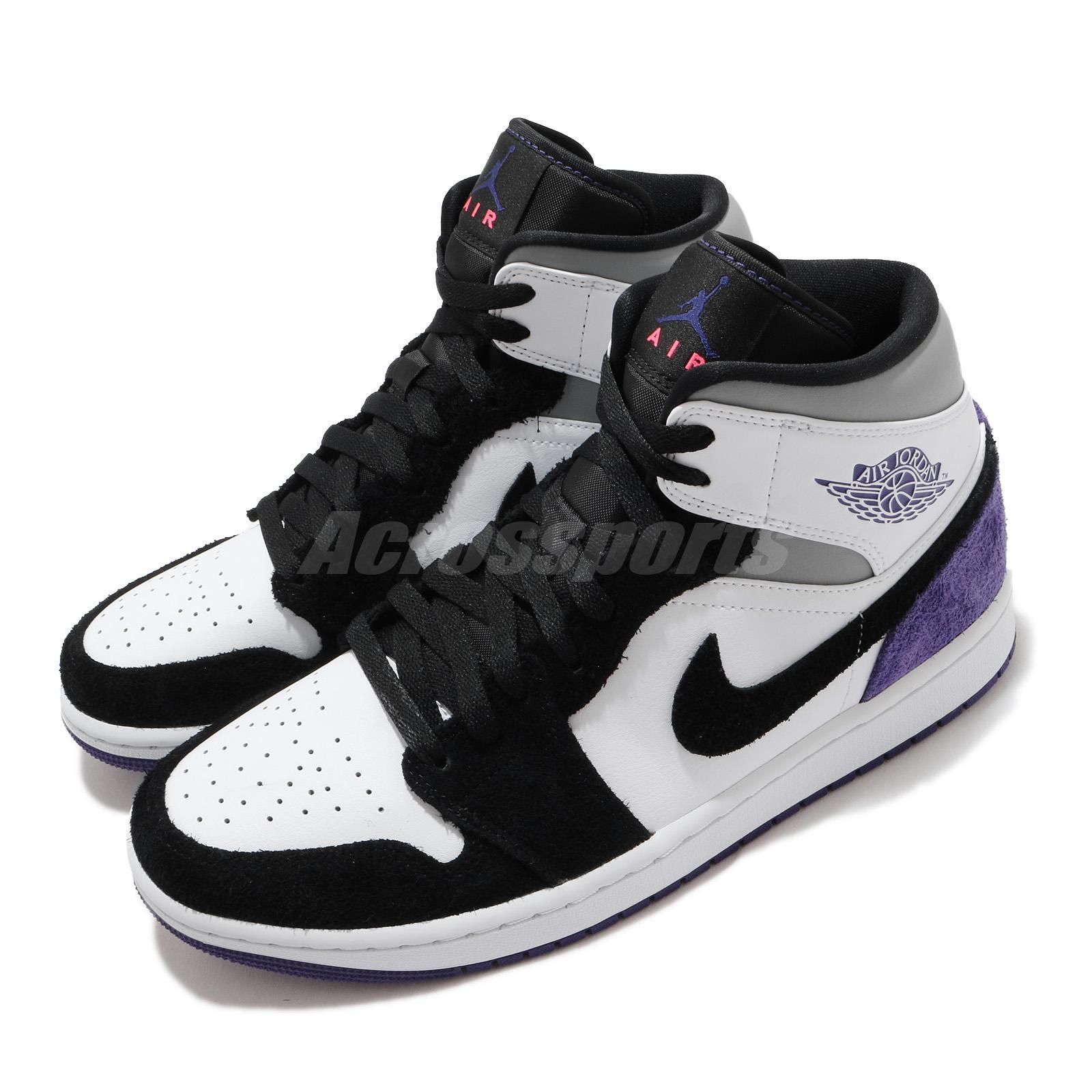 Nike Air Jordan 1 Mid SE Varsity Purple White Black Grey Men Shoes ...